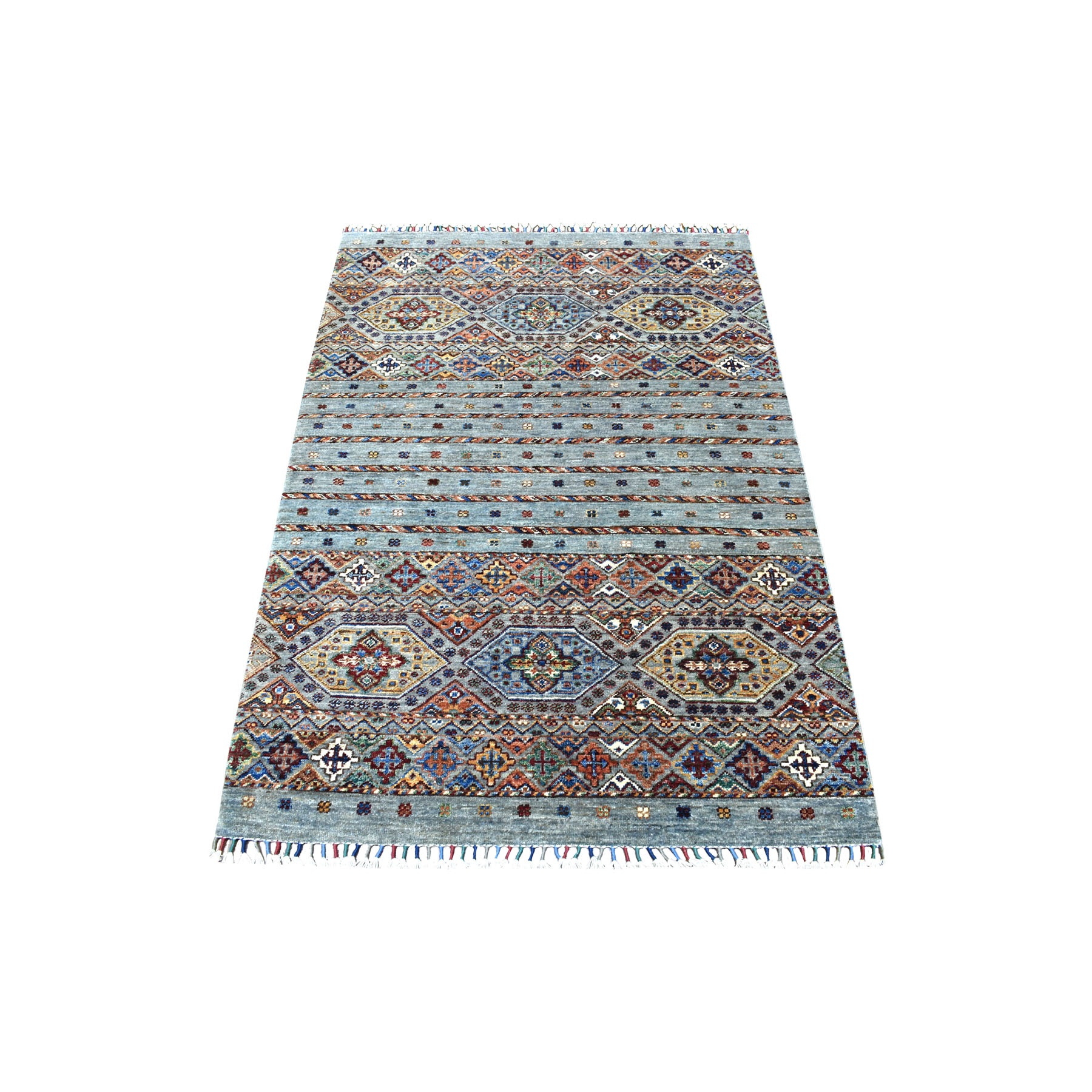 "3'4""x5' Gray Super Kazak Khorjin Design With Colorful Tassles Hand Knotted Vibrant Wool Oriental Rug"