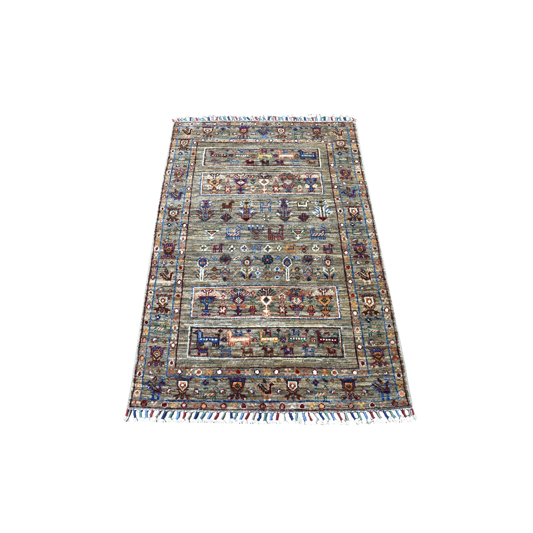 "2'7""x4' Gray Super Kazak Khorjin Design With Colorful Tassles Hand Knotted Natural Wool Ethnic Oriental Rug"