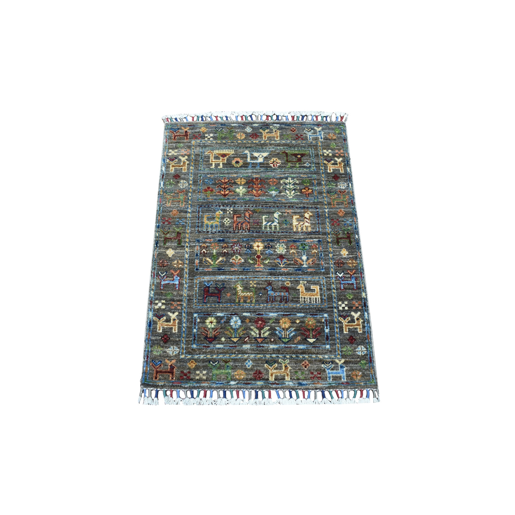 "2'x2'10"" Gray Hand Knotted With Colorful Tassles Super Kazak Khorjin Design Afghan Wool Oriental Rug"