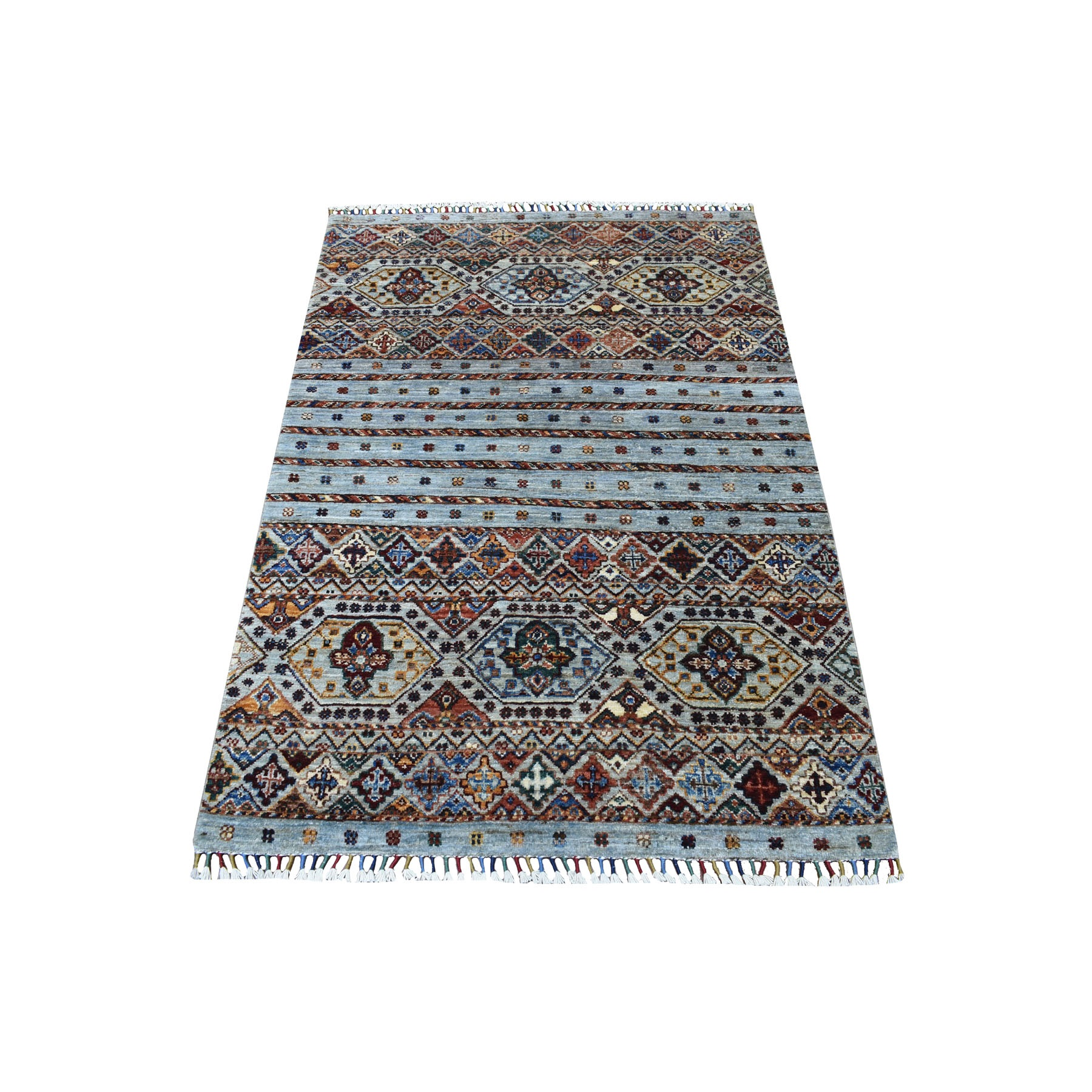 "3'4""x4'10"" Gray With Colorful Tassles Hand Knotted Super Kazak And Nomadic Khorjin Design Natural Wool Oriental Rug"