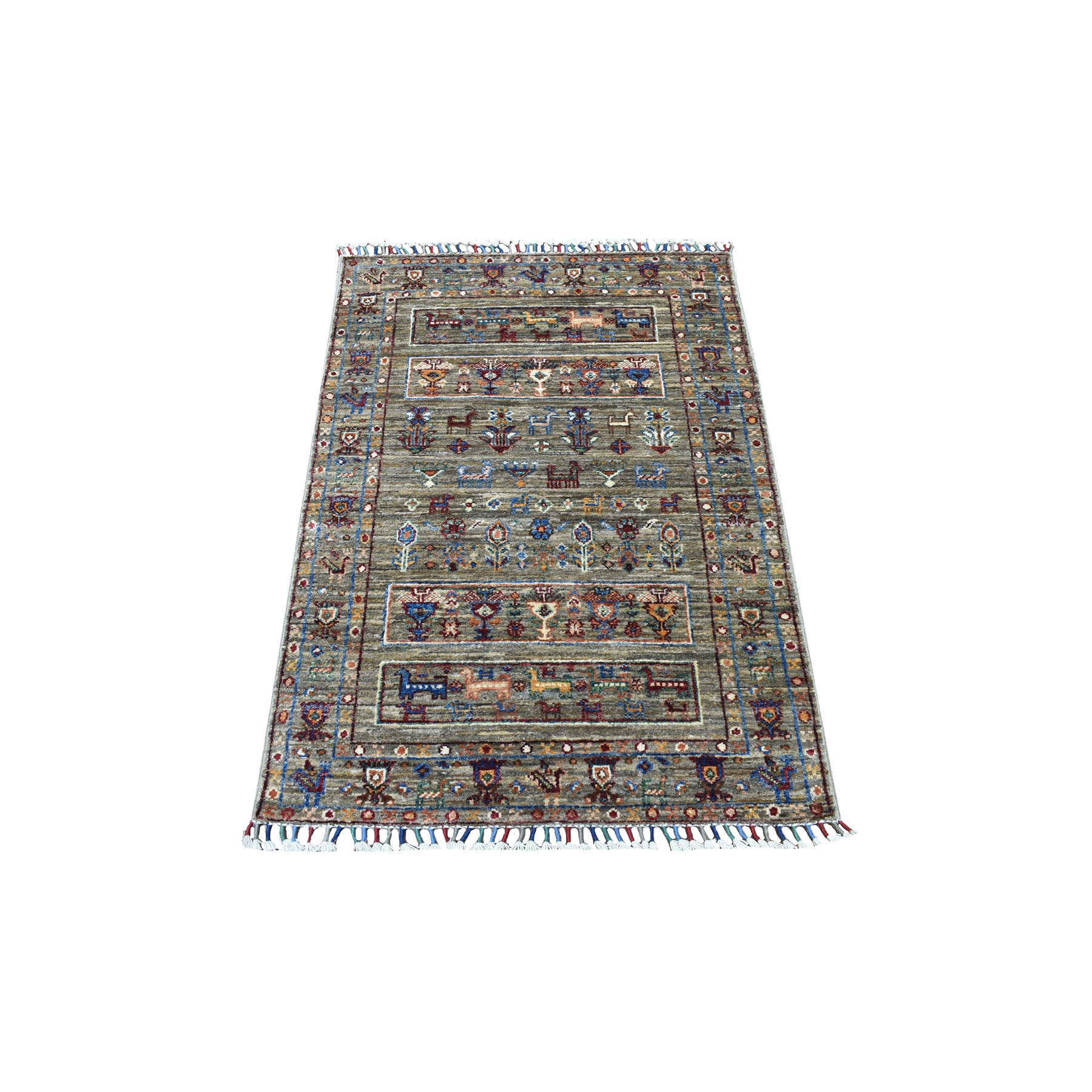 "2'6""x3'10"" Gray With Colorful Tassles Hand Knotted Super Kazak Khorjin Design Vibrant Wool Oriental Rug"
