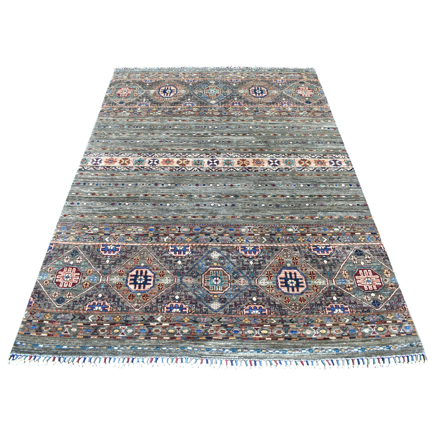 "5'x7'2"" Gray With Colorful Tassles Hand Knotted Super Kazak Khorjin Design Natural Wool Ethnic Oriental Rug"