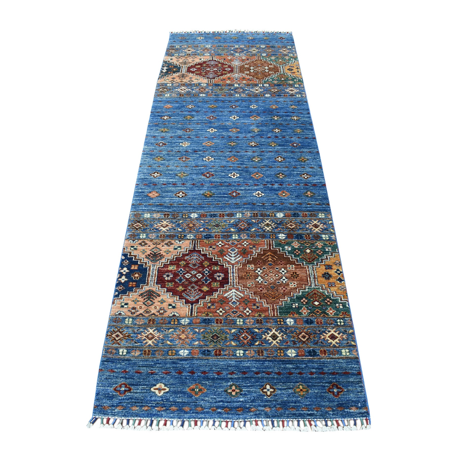 "2'9""x9'2""  Denim Blue Super Kazak Khorjin Design With Colorful Tassels Hand Knotted Vibrant Wool Oriental Runner Rug"