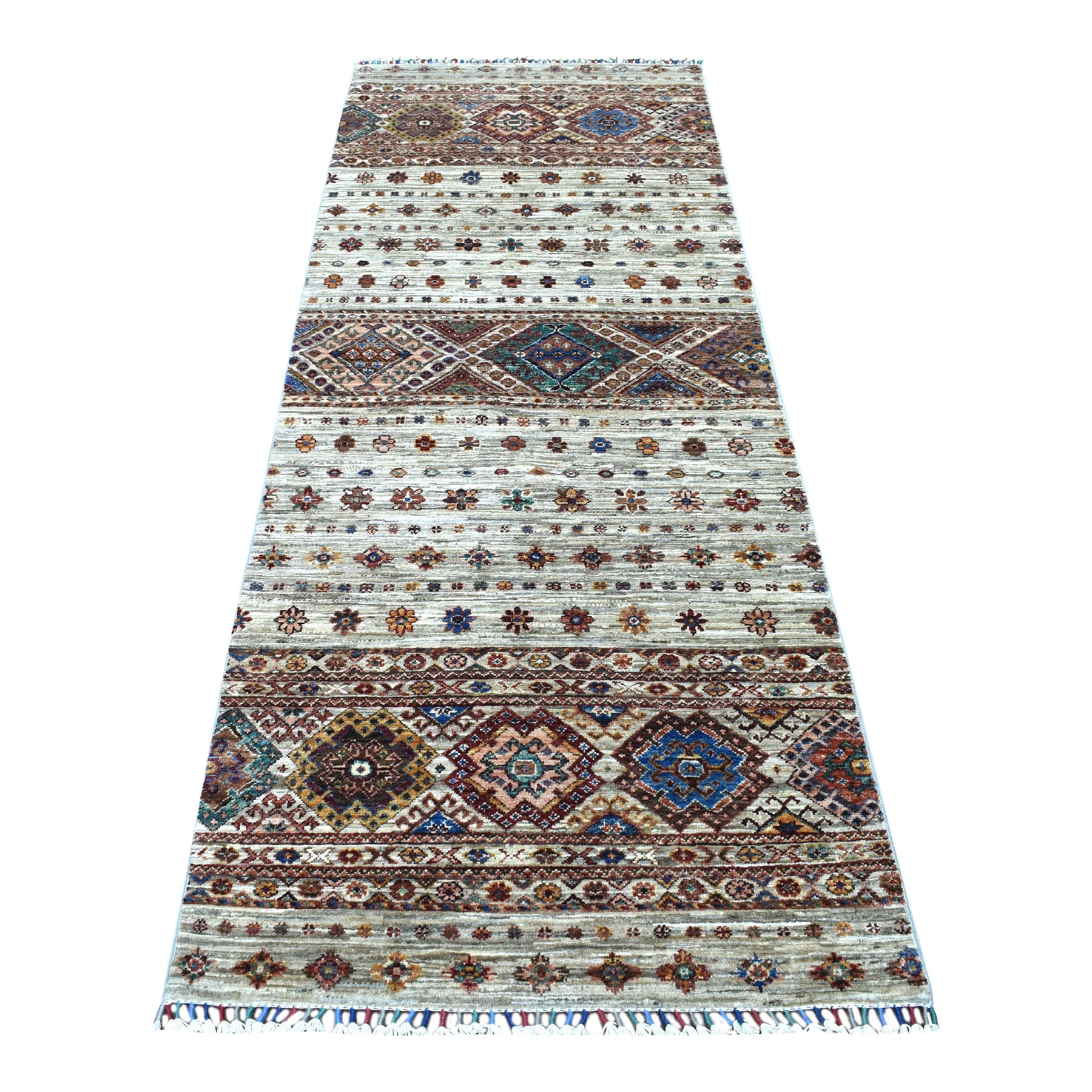 "2'10""x8' Light Gray Hand Knotted Super Kazak In A Colorful Palette Khorjin Design With Colorful Tassles Pure Wool Oriental Runner Rug"