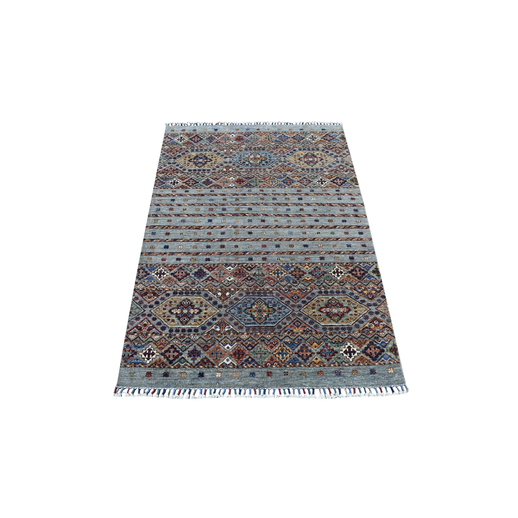 "3'5""x5' Hand Knotted Gray Super Kazak Khorjin Design With Colorful Tassles Organic Wool Oriental Rug"