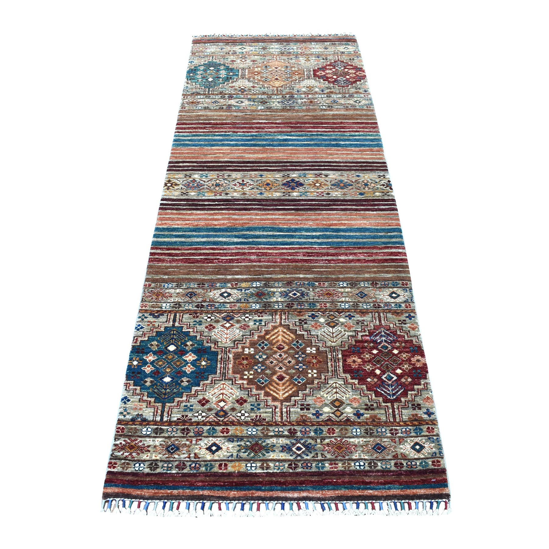 "2'9""x8' Hand Knotted Gray Super Kazak Khorjin Design With Colorful Tassles Pure Afghan Wool Oriental Runner Rug"