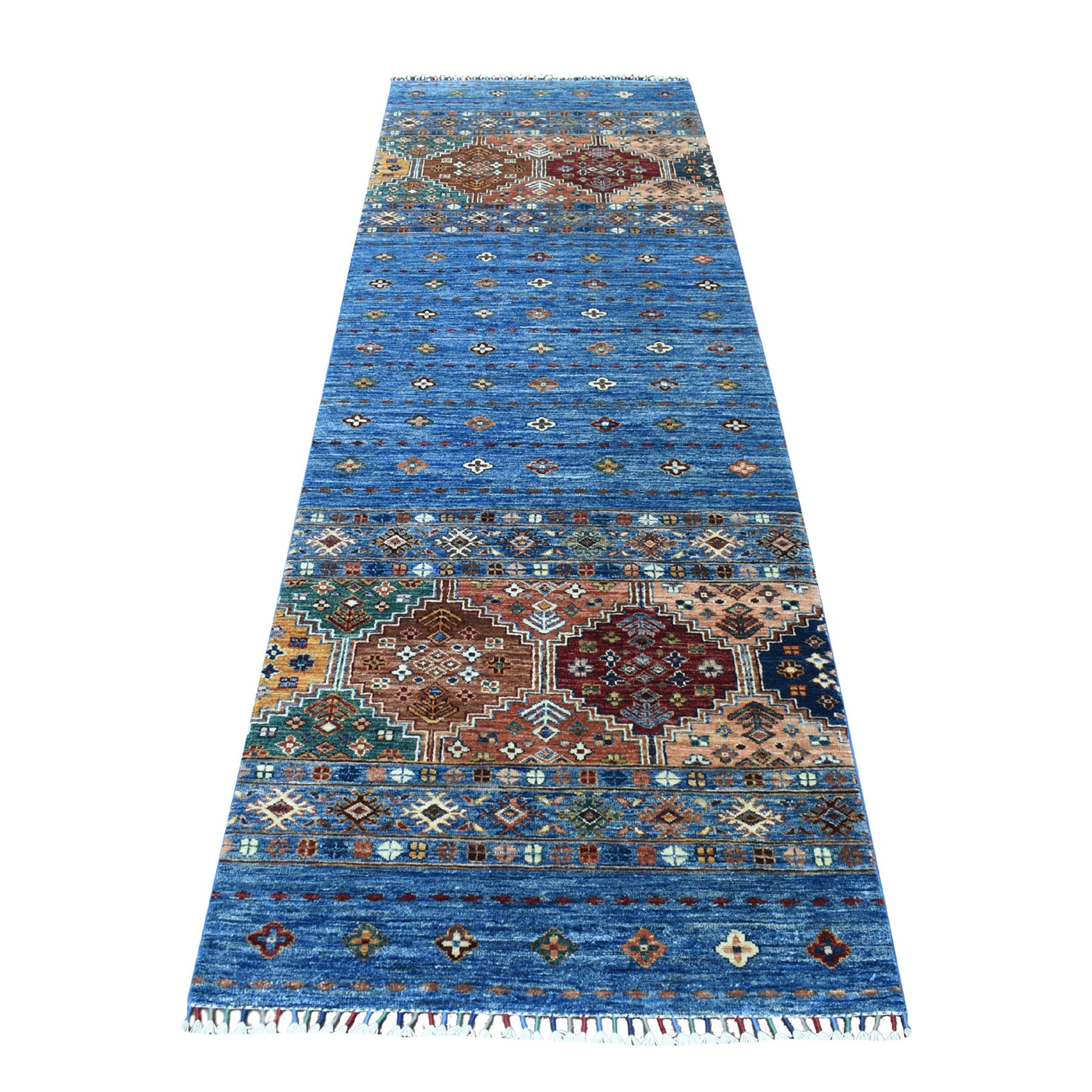 "3'x9'2"" Blue Super Kazak With Pop Of Color Khorjin Design With Colorful Tassels Hand Knotted Pure Wool Oriental Runner Rug"