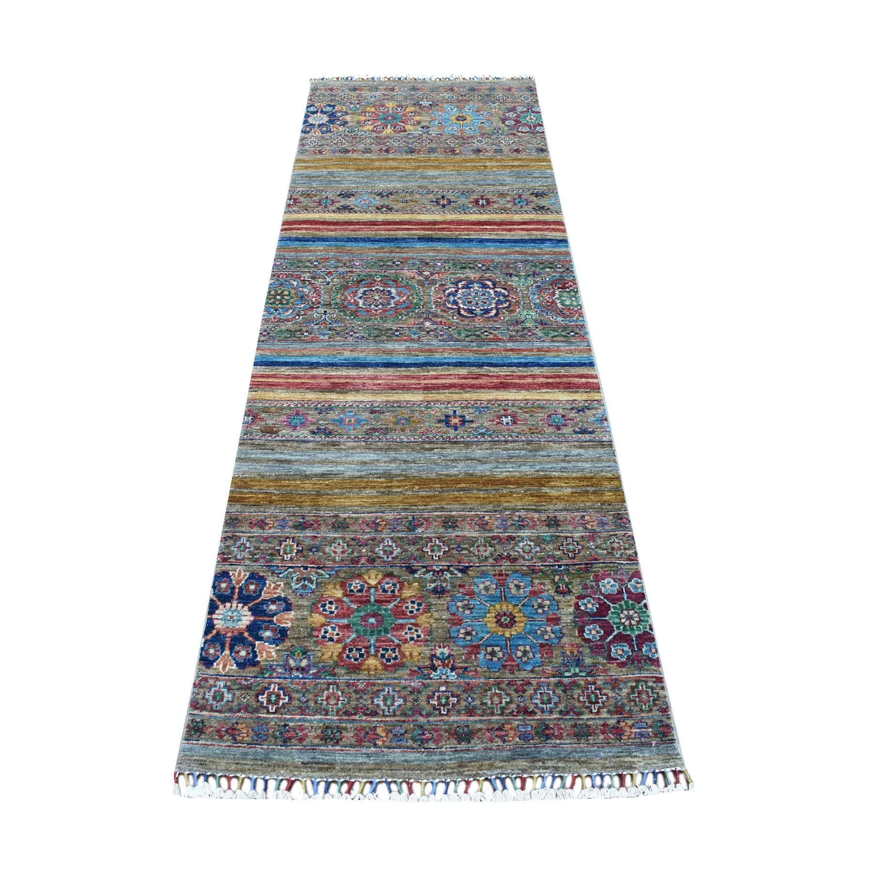 "2'7""x8' Gray Super Kazak Khorjin Design With Colorful Tassels Hand Knotted Vibrant Wool Oriental Runner Rug"