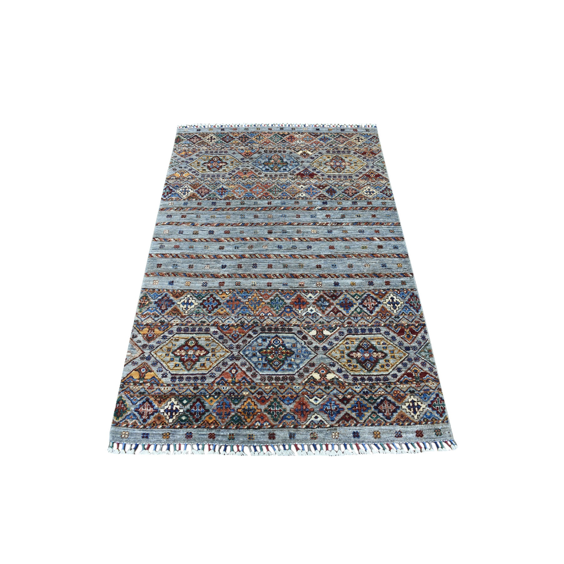 "3'4""x5'3"" Pure Wool Gray With Colorful Tassles Hand Knotted Super Kazak Khorjin Design Ethnic Oriental Rug"