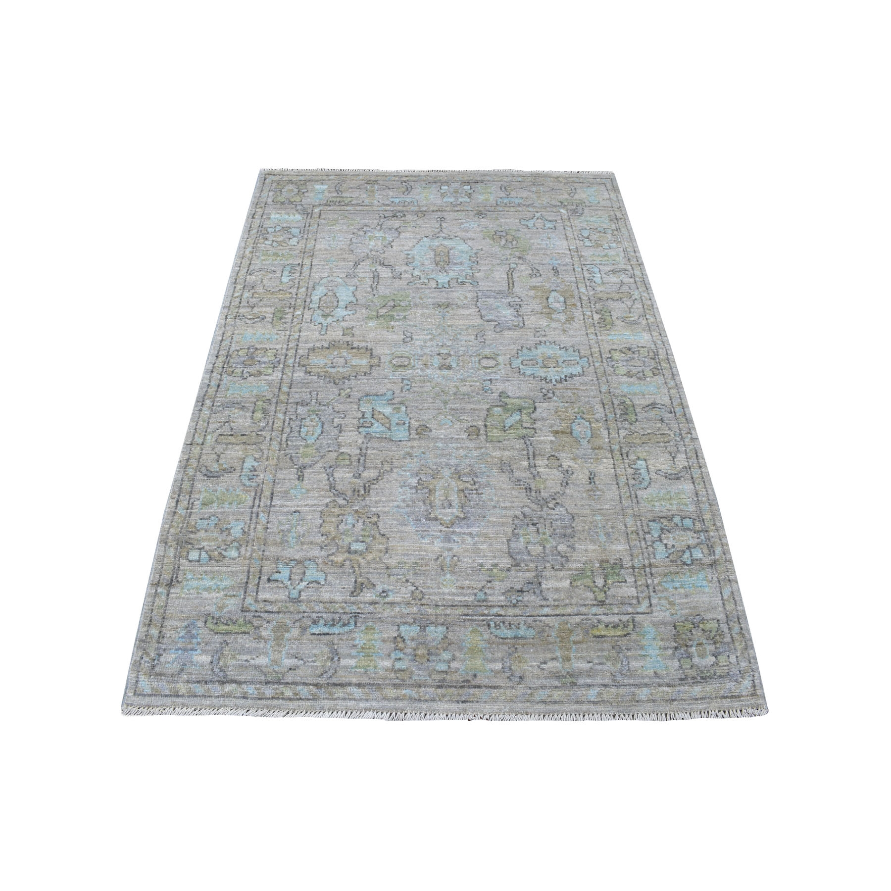 "4'1""x6' Taupe Angora Oushak With Soft And Glimmery Wool Hand Knotted Oriental Rug"