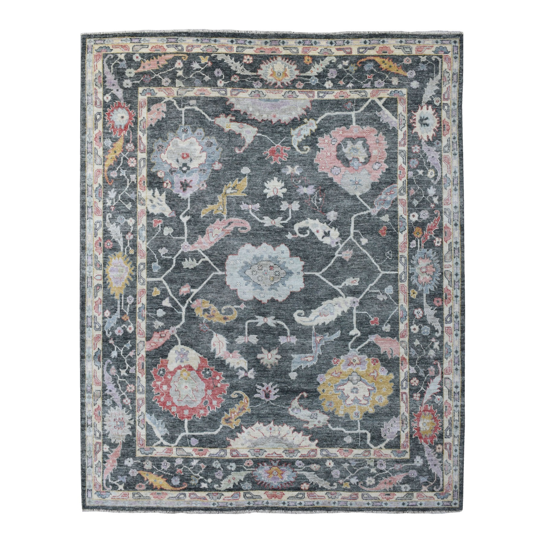 "8'2""x9'10"" Angora Oushak Charcoal Black With Pop Of Color Hand Knotted Pliable Wool Oriental Rug"