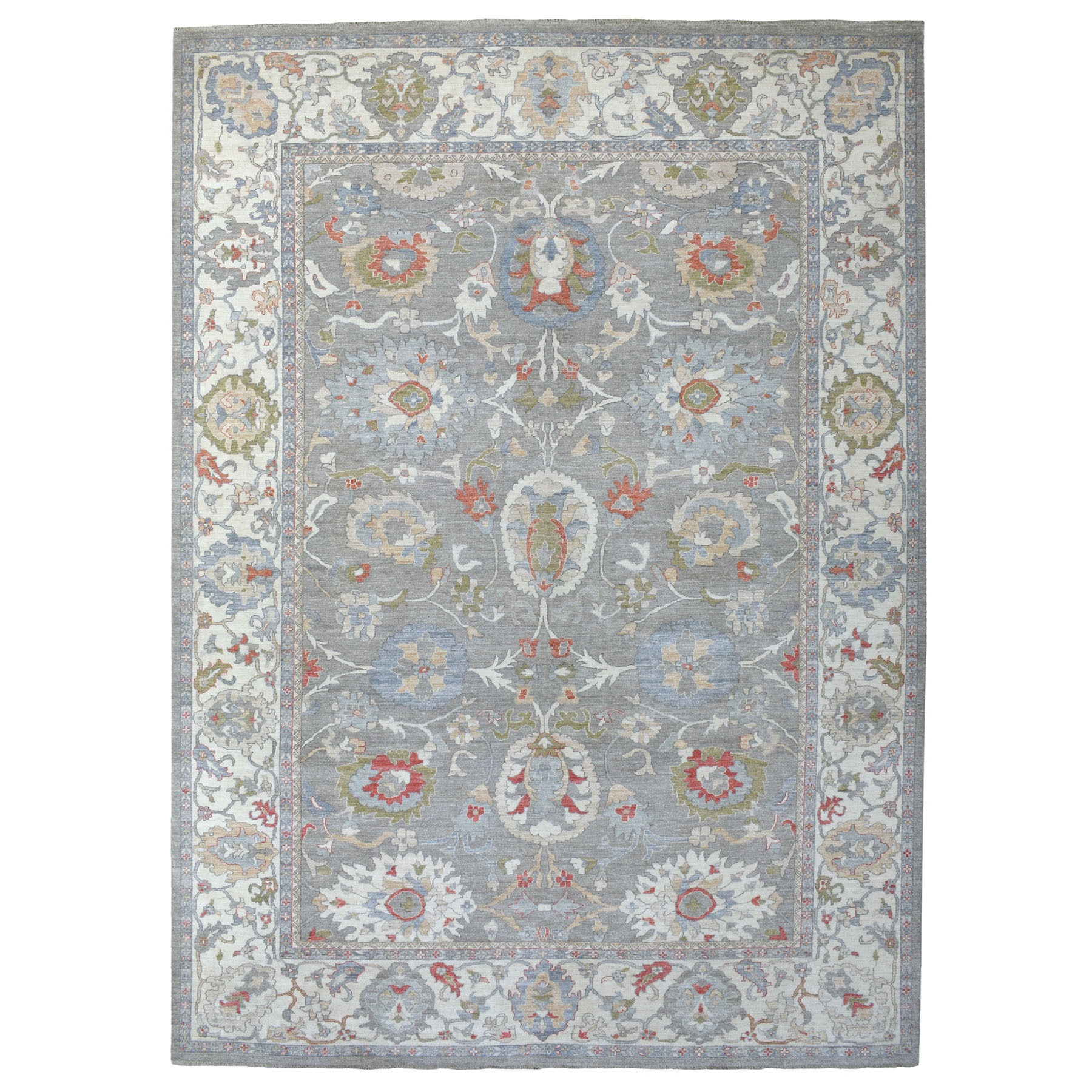 "9'10""x14' Gray Afghan Peshawar with Mahal Design Handspun Wool Hand Knotted Oriental Rug"