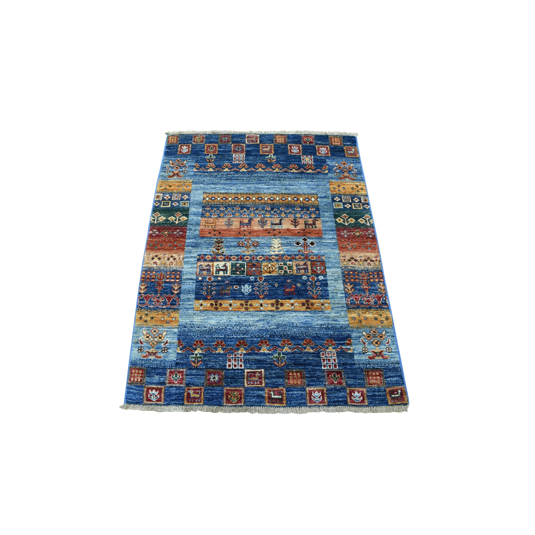 3'x3'10' Blue Kashkuli Gabbeh Pictorial Hand Spun Wool Hand-Knotted Ethnic Oriental Rug