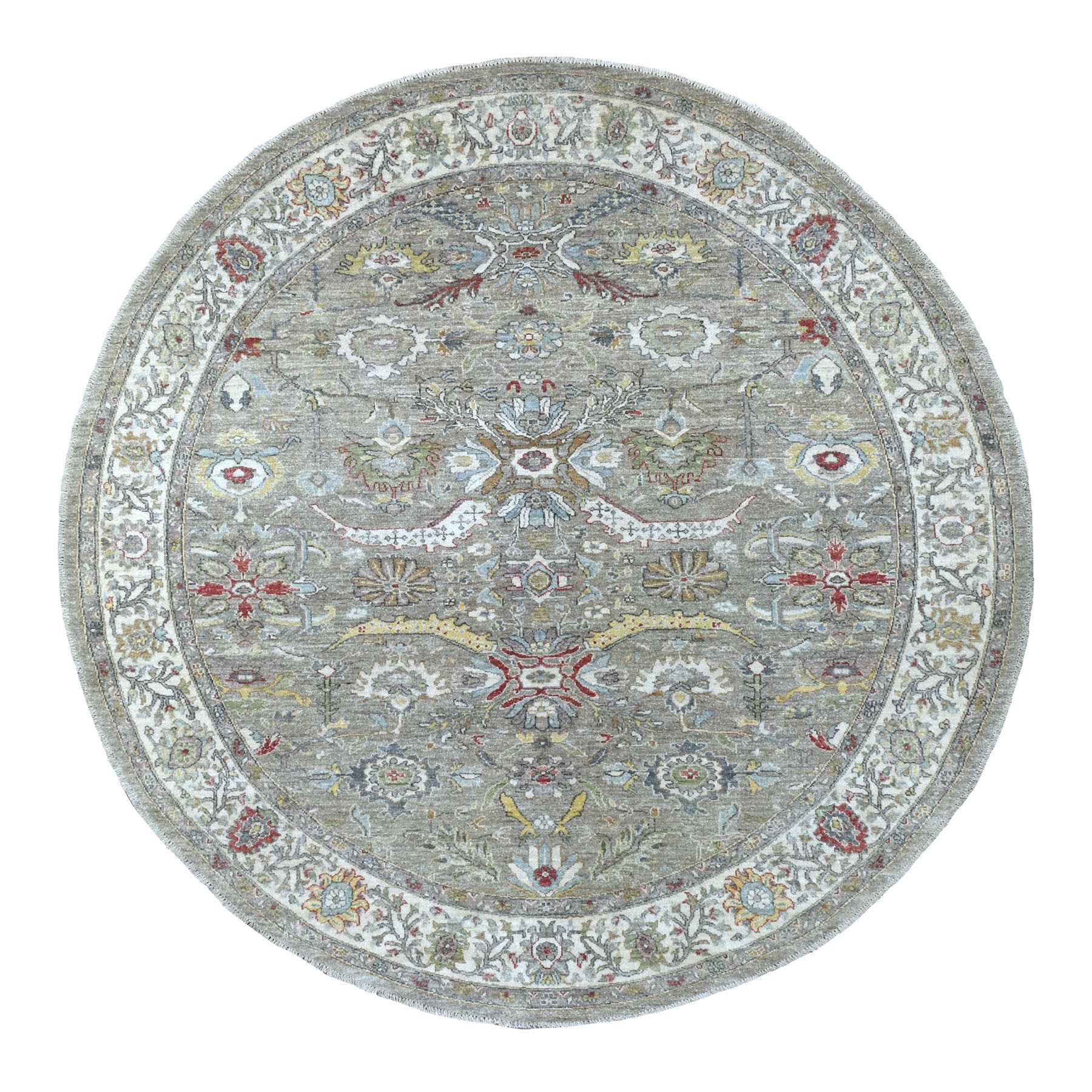 "7'9""x7'10"" Gray Peshawar With Heriz Design Vibrant Wool Hand Knotted Oriental Round Rug"
