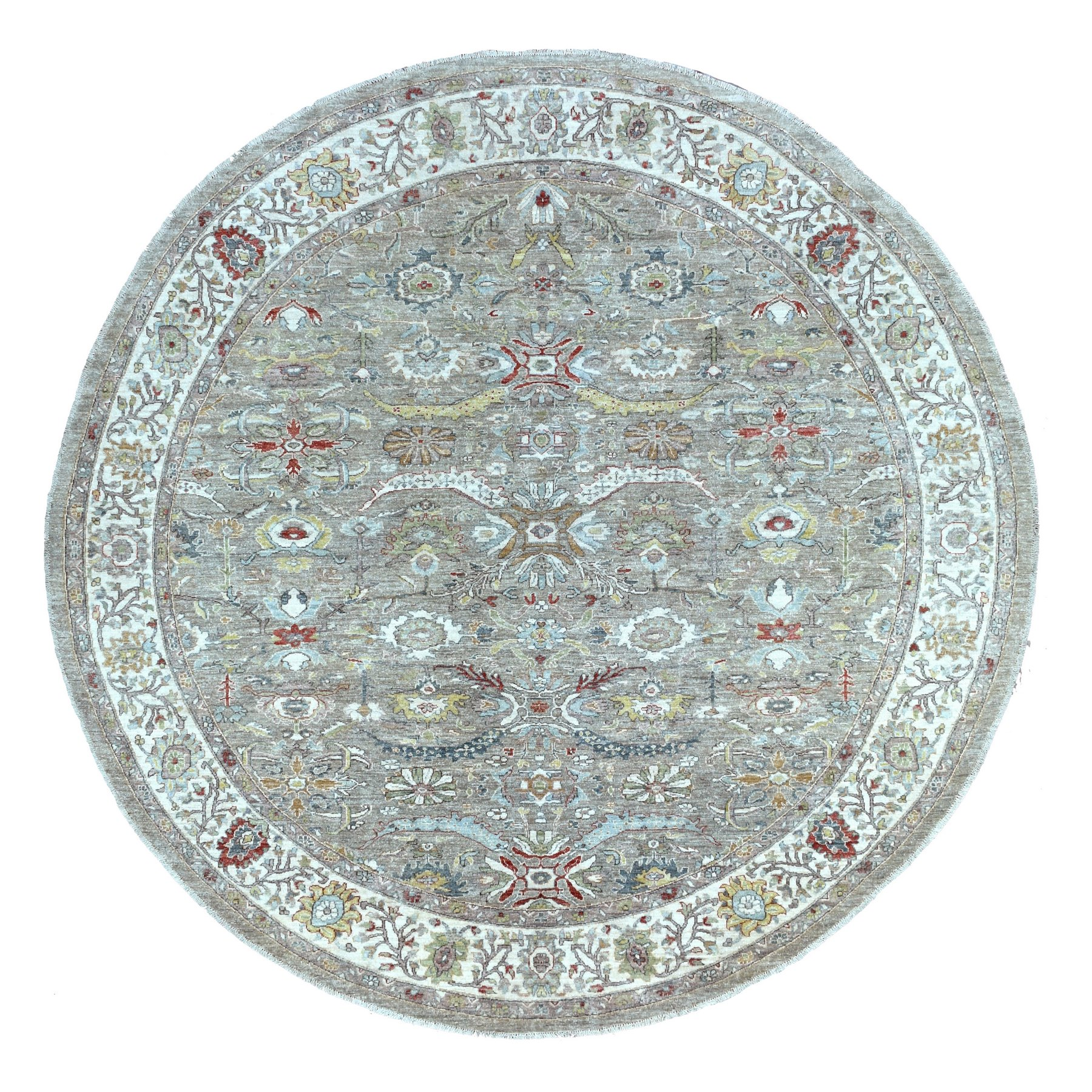 "9'9""x9'10"" Gray Peshawar With Heriz Design Shiny Wool Hand Knotted Oriental Round Rug"