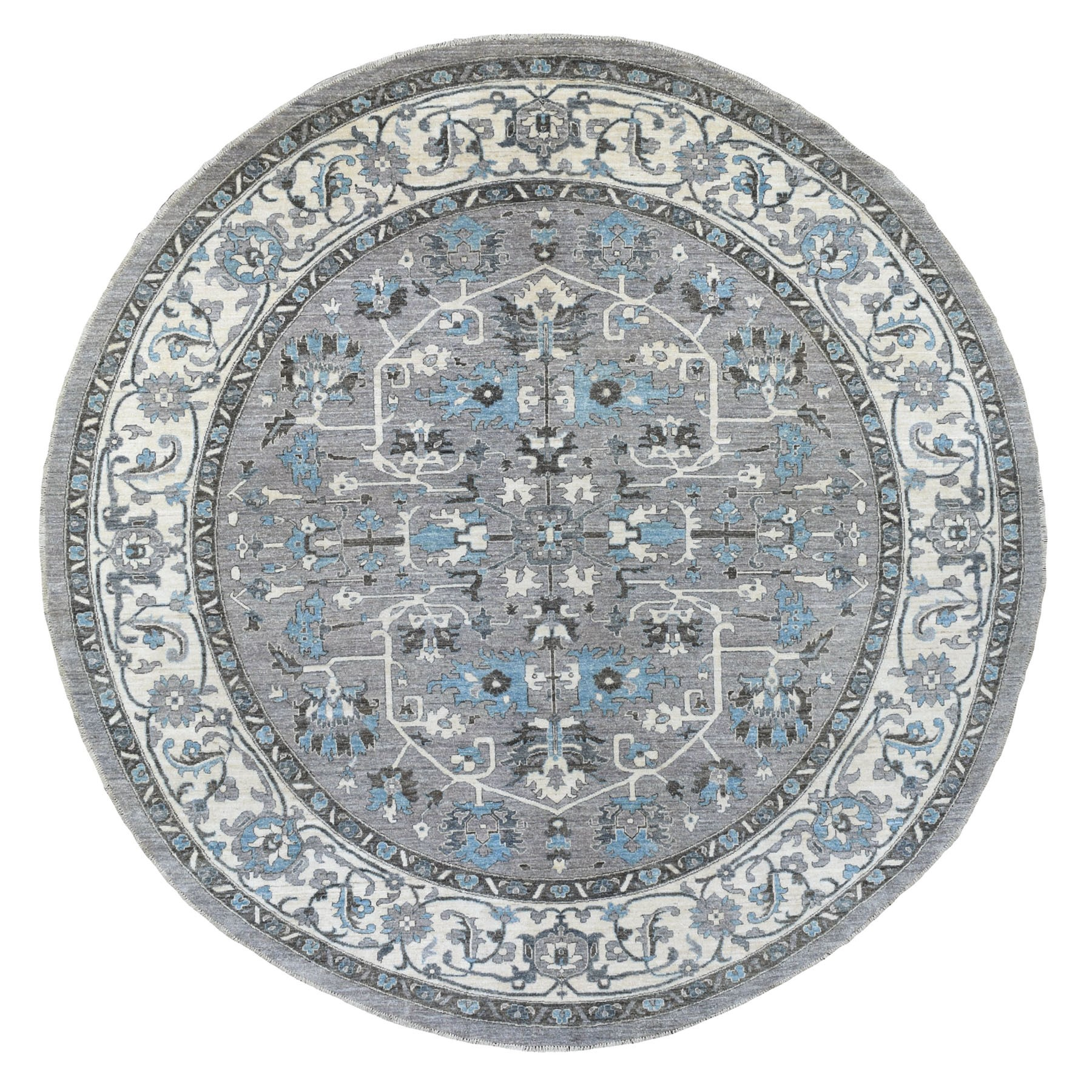 10'x10' Gray Afghan Peshawar with Ziegler Mahal Design Handspun Wool Hand Knotted Round Oriental Rug