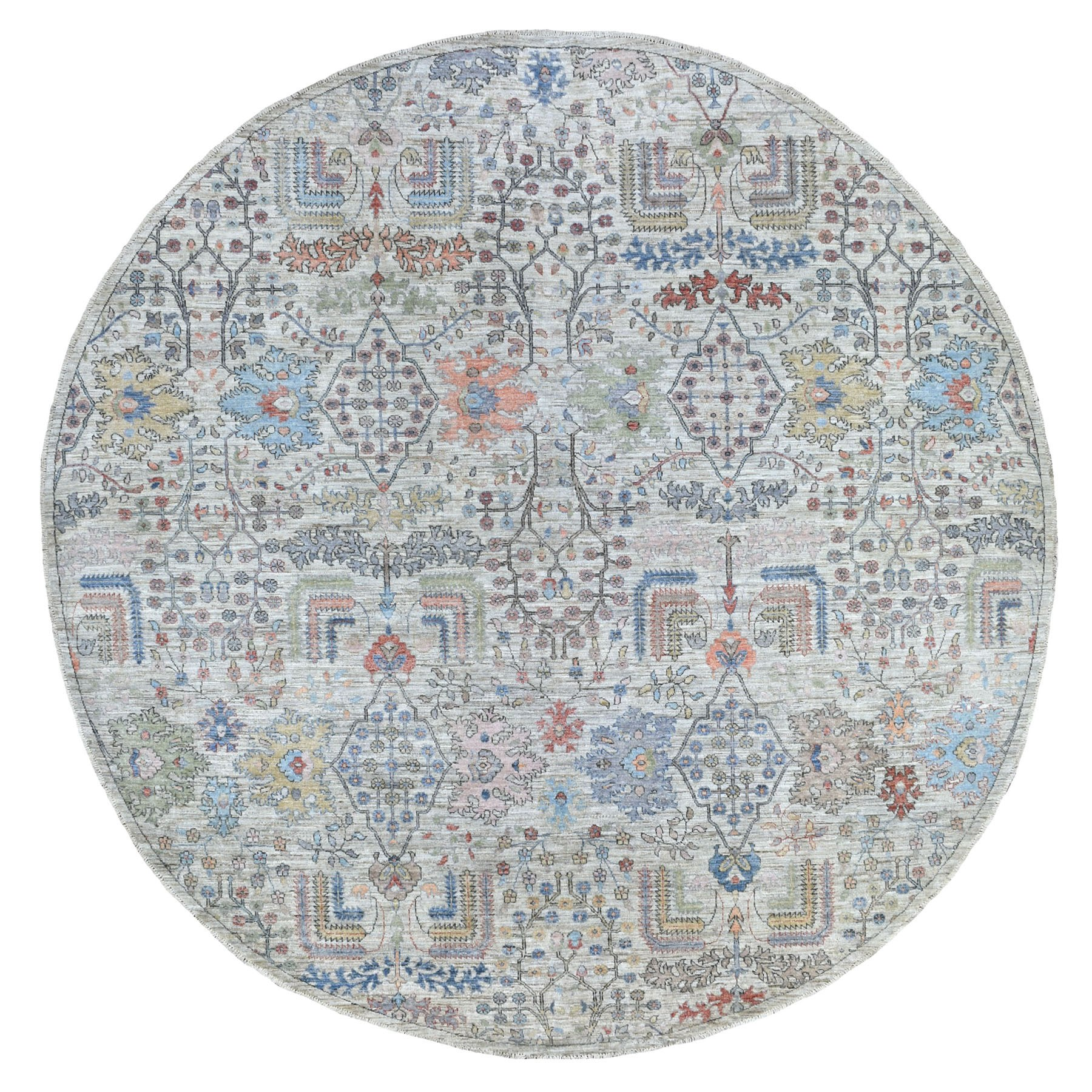 "10'1""x10'3"" Gray Afghan Peshawar with Willow Tree Design Shiny Wool Hand Knotted Round Oriental Rug"