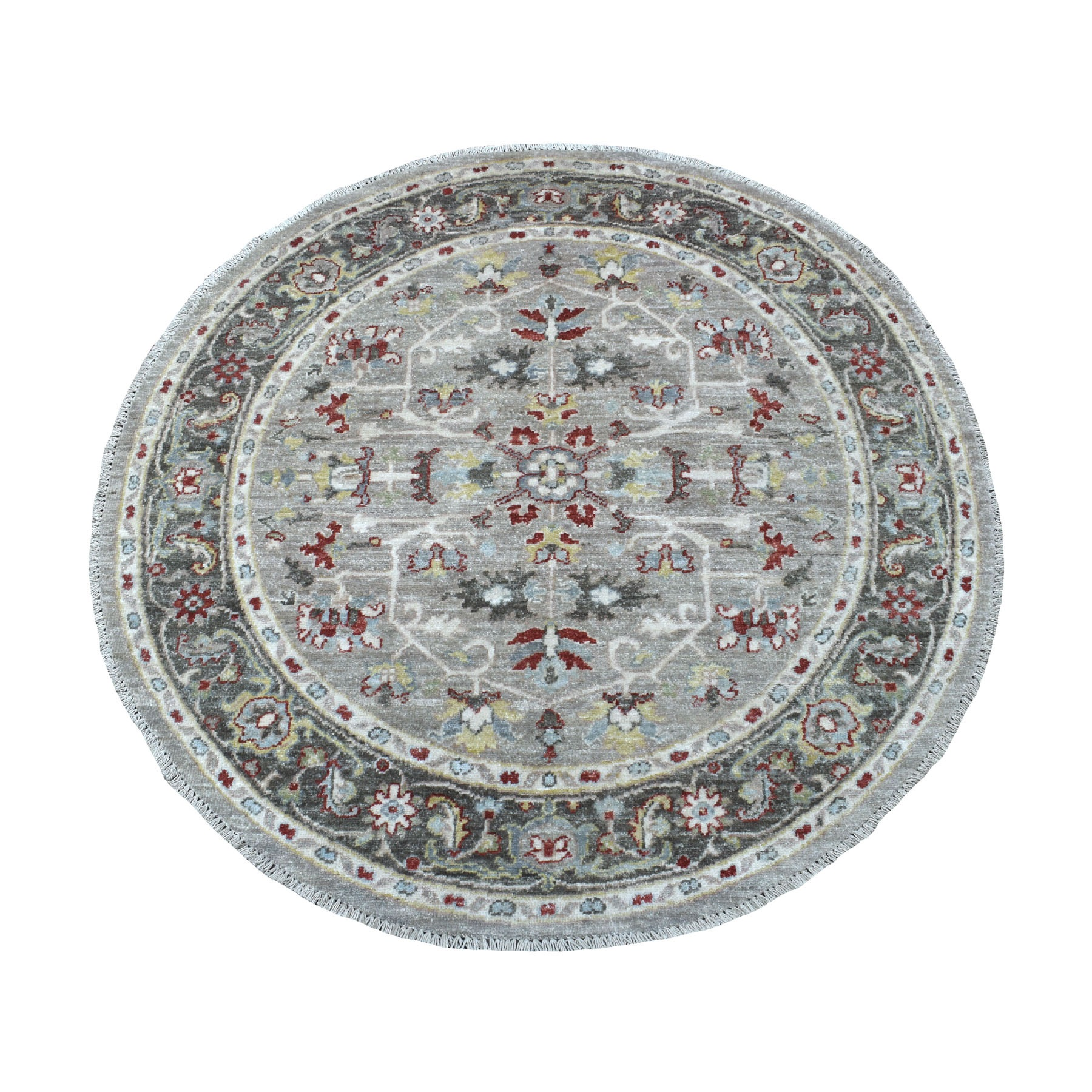 4'x4' Light Gray Peshawar With Heriz Design Shiny Wool Round Hand Knotted Oriental Rug