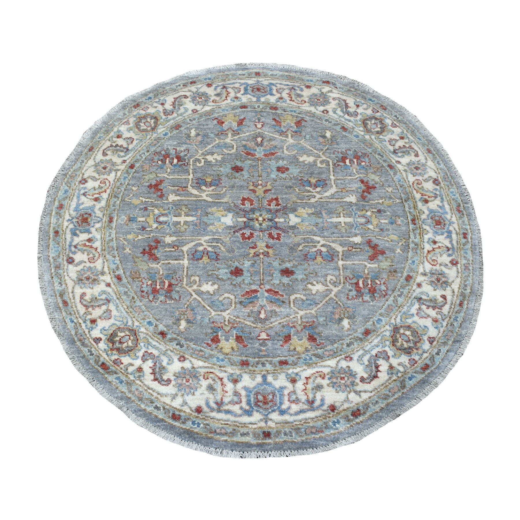 "4'1""x4'1"" Peshawar Gray With Heriz Design lustrous Wool Hand Knotted Oriental Round Rug"