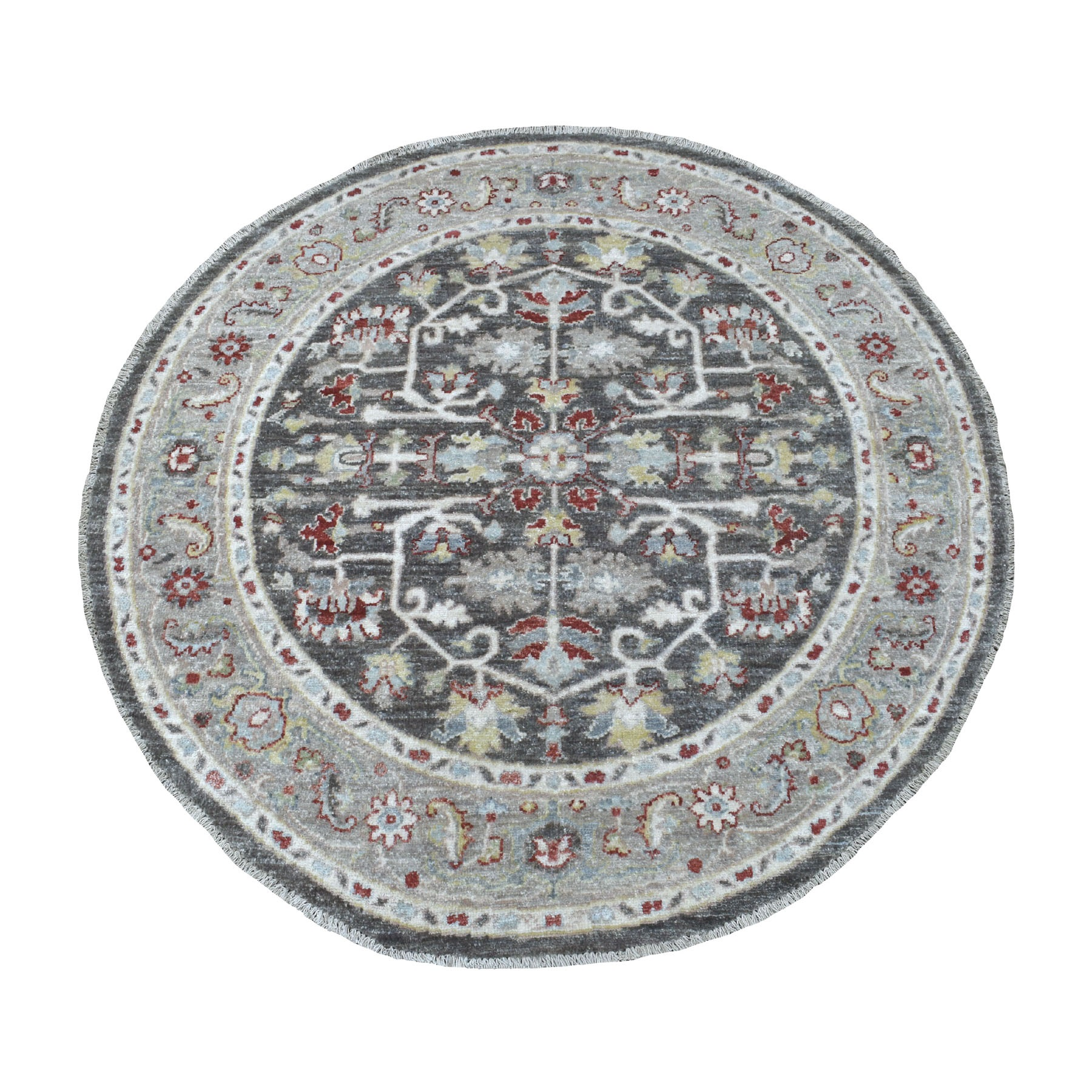 4'x4' Dark Gray Peshawar With Heriz Design Shiny Wool Round Hand Knotted Oriental Rug