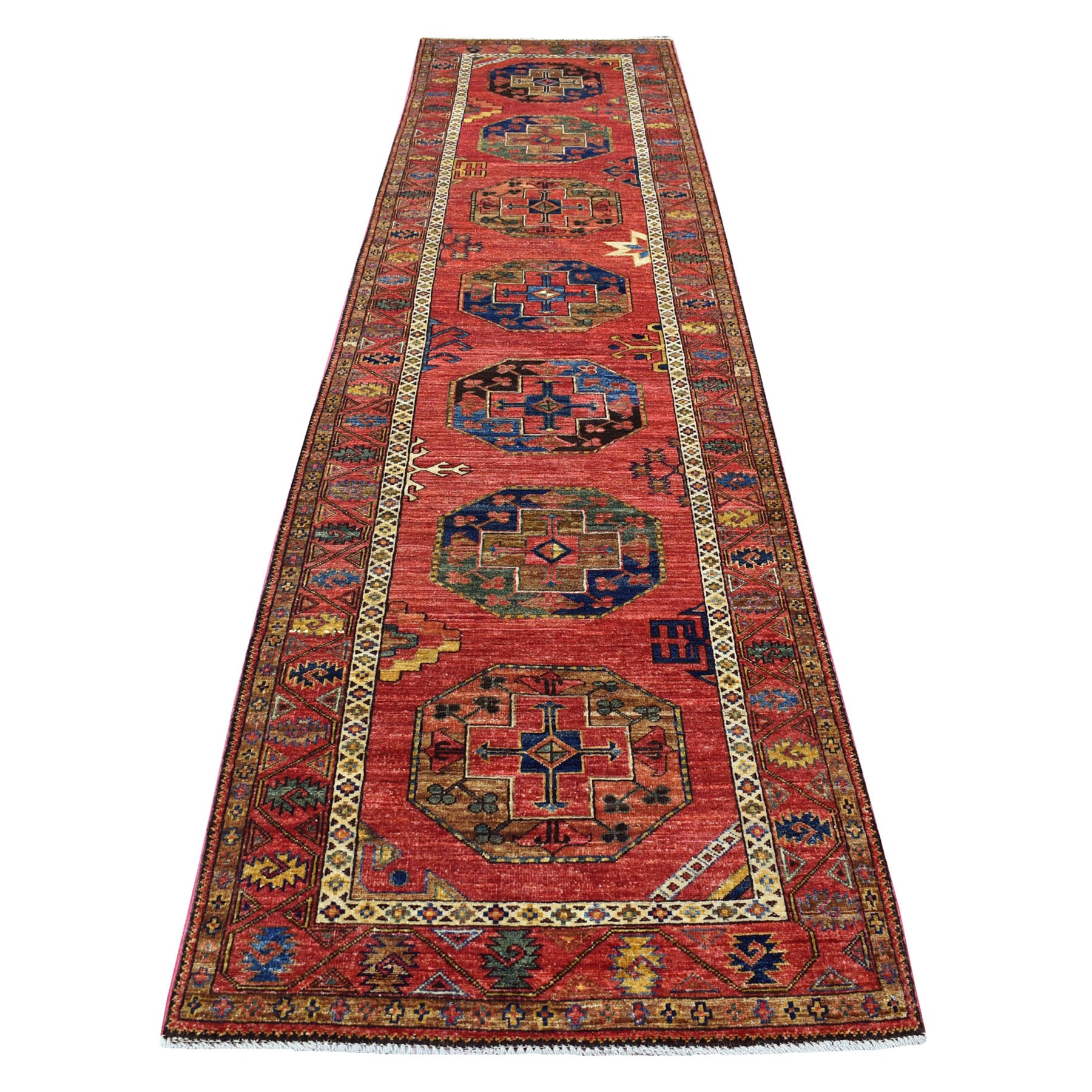 "3'2""x13' Red Afghan Ersari With Elephant Feet Design Organic Wool Hand Knotted Oriental Runner Rug"