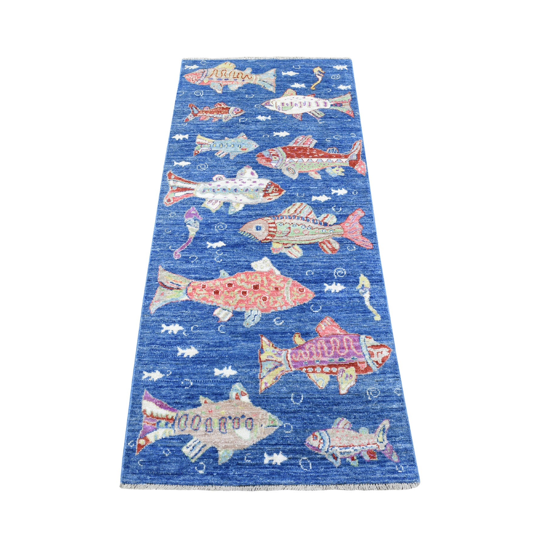 "2'6""x6' Oceanic Fish Design Organic Wool Afghan Peshawar Hand Knotted Oriental Runner Rug"