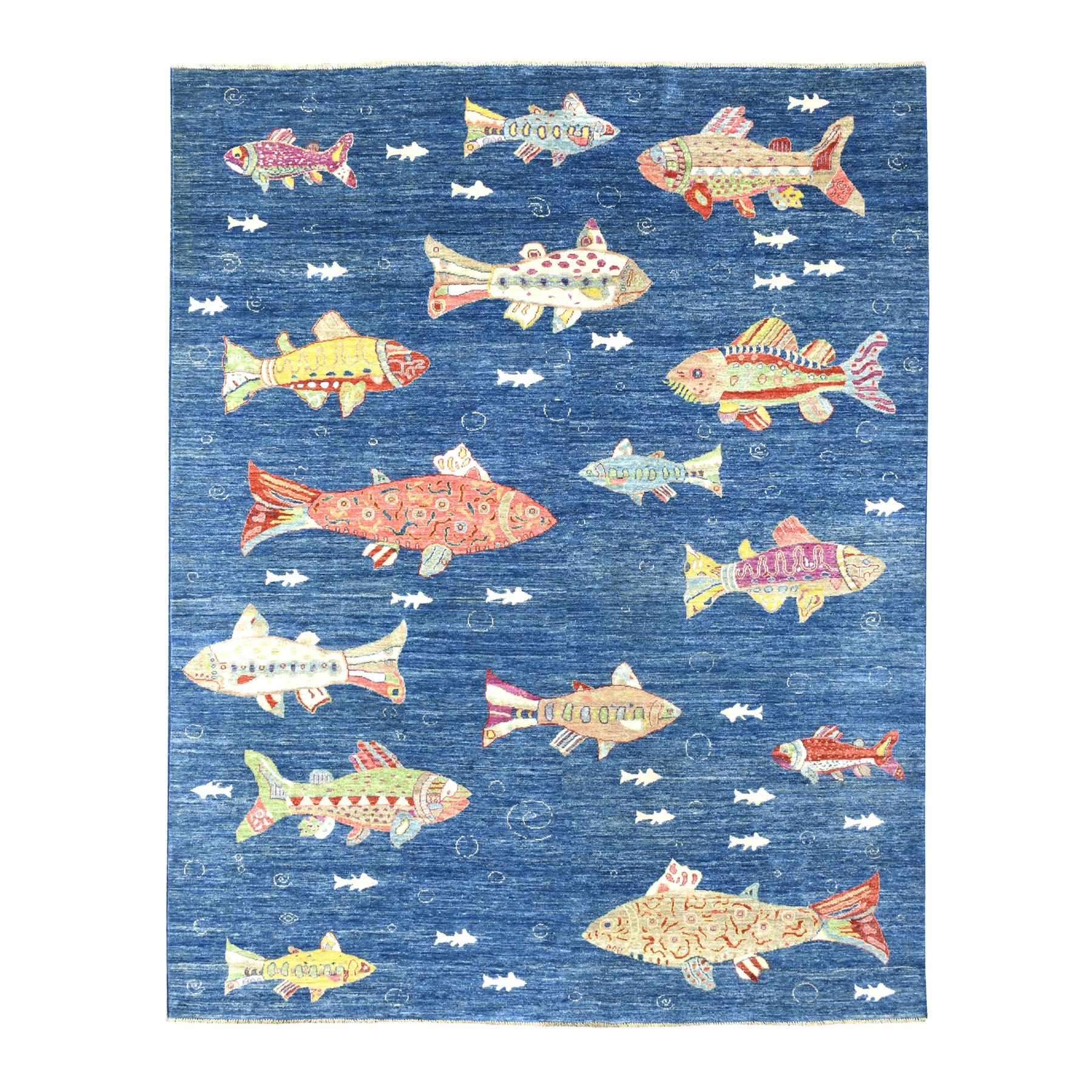 "8'1""x10' Oceanic Fish Design Organic Wool Afghan Peshawar Hand Knotted Oriental Rug"