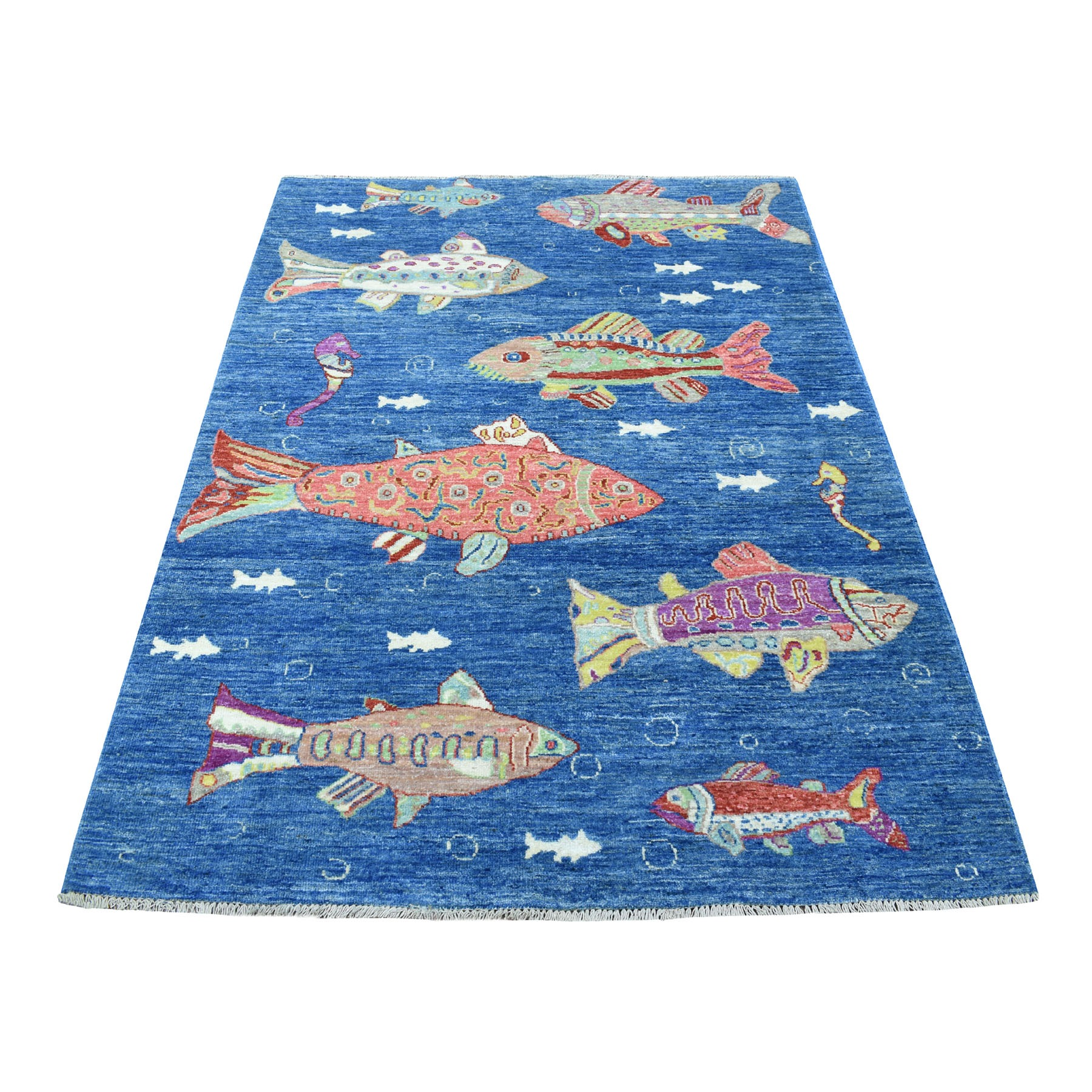 4'x6' Oceanic Fish Design Afghan Peshawar Hand Knotted Pure Wool Oriental Rug