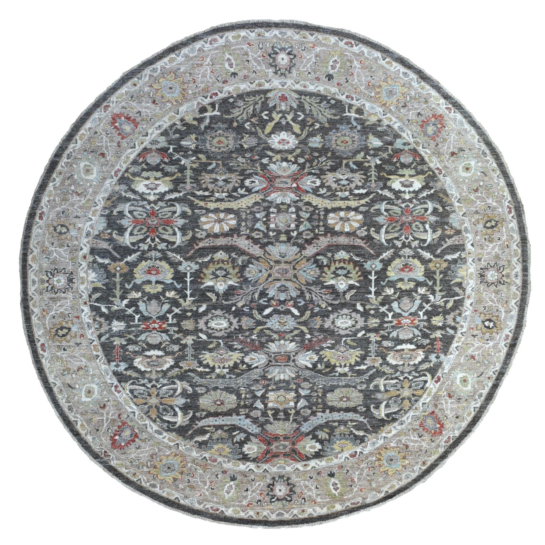 """9'9""""x9'10"""" Dark Gray Peshawar With Heriz Design lustrous wool Hand Knotted Oriental Round Rug"""
