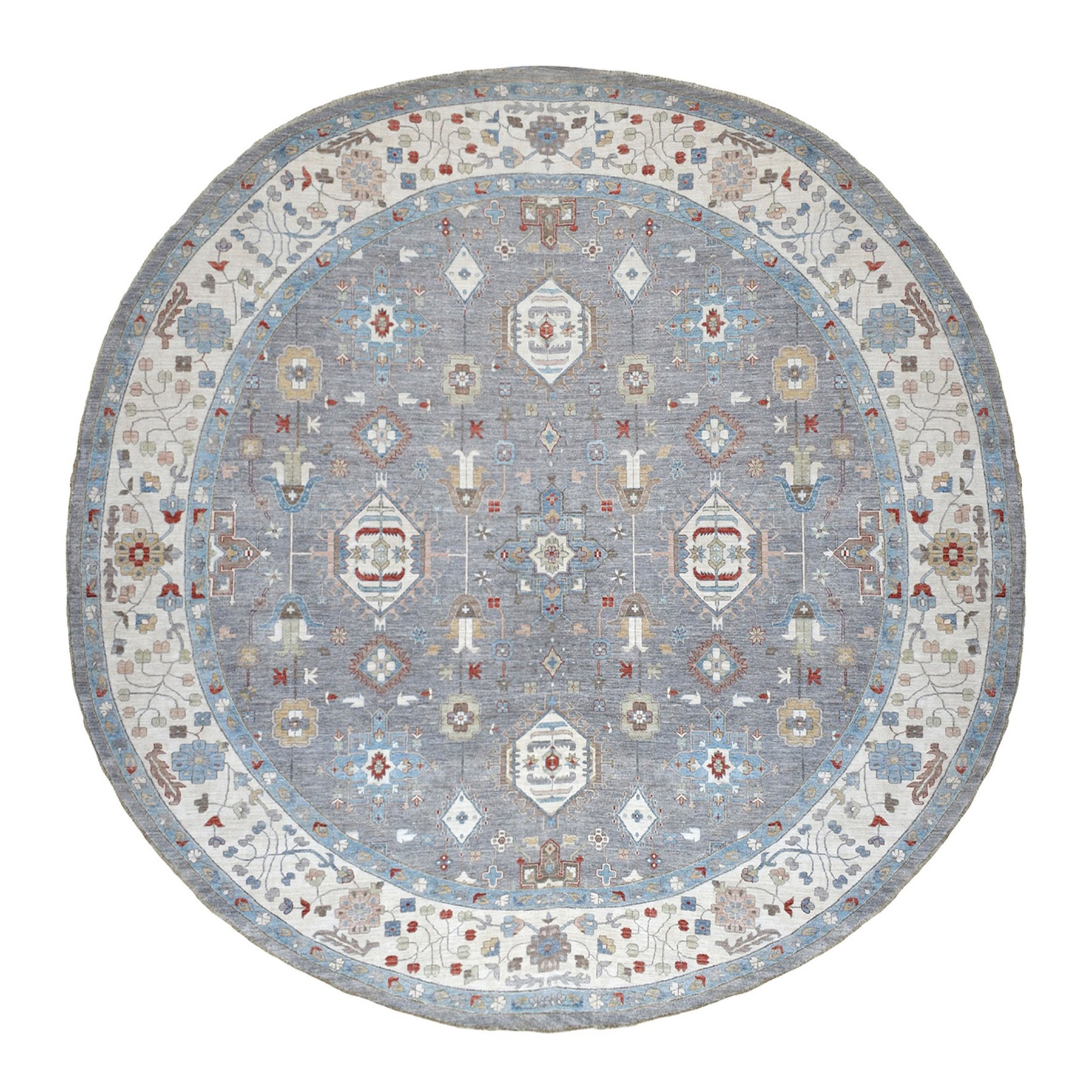 14'x15' Gray Peshawar With Heriz Design Shiny Wool Round Hand Knotted Oriental Rug