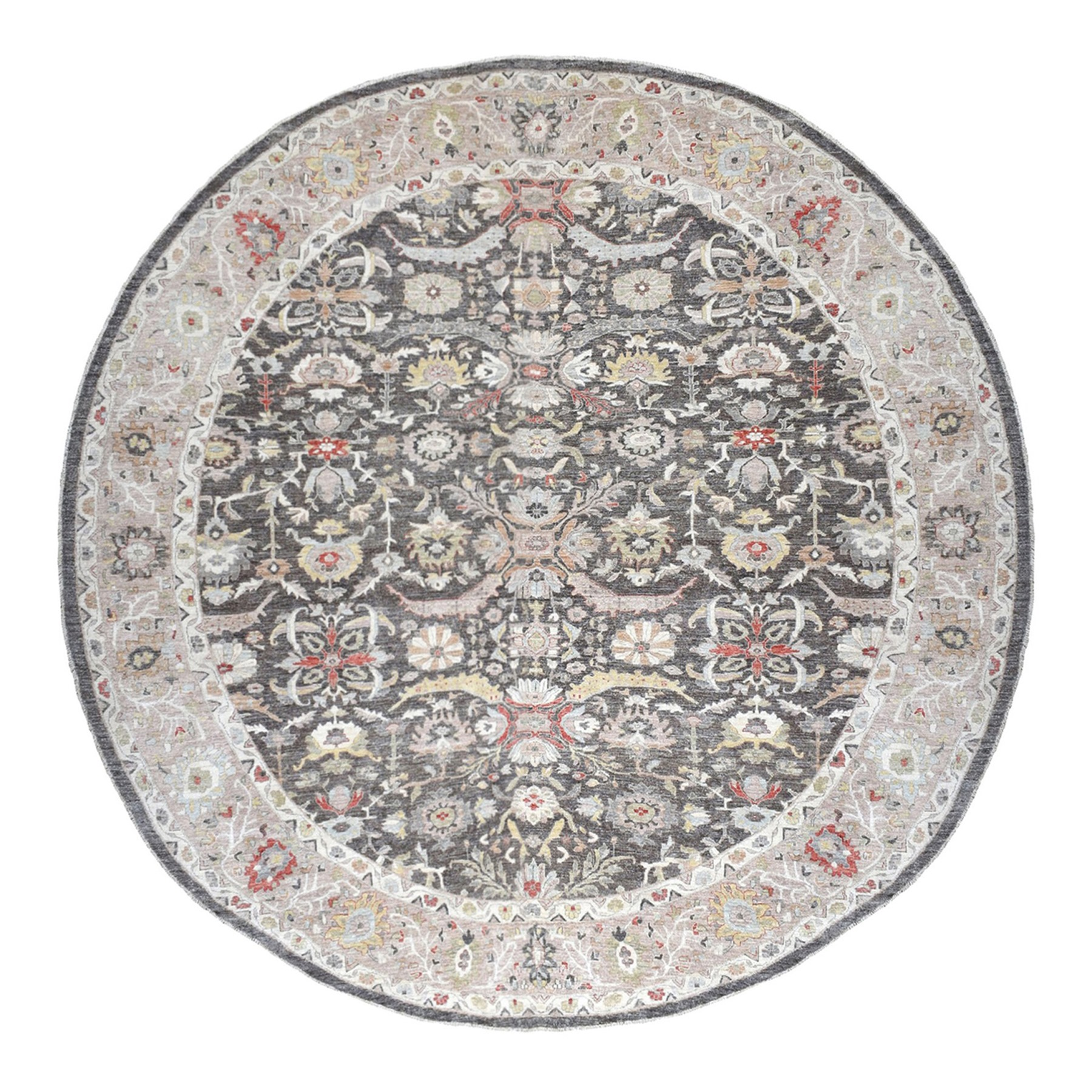 "13'5""x13'5"" Black Peshawar With Heriz Design lustrous wool Hand Knotted Oriental Round Rug"