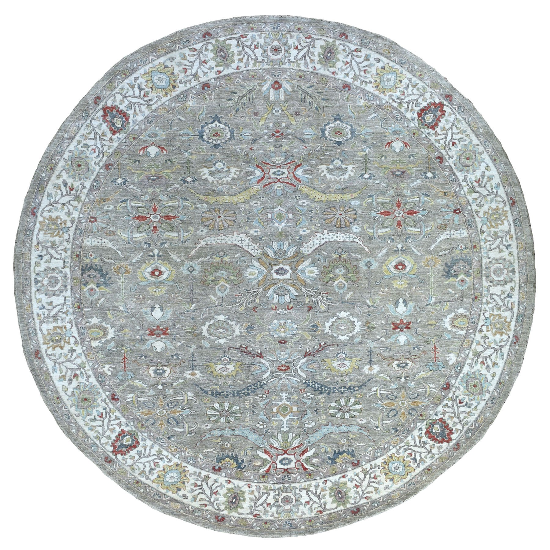 "11'9""x11'10"" Gray Peshawar With Heriz Design Shiny Wool Hand Knotted Oriental Round Rug"