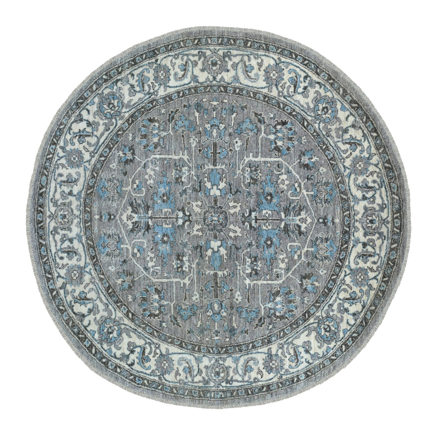"6'x6'1"" Gray Peshawar With Heriz Design lustrous wool Hand Knotted Oriental Round Rug"