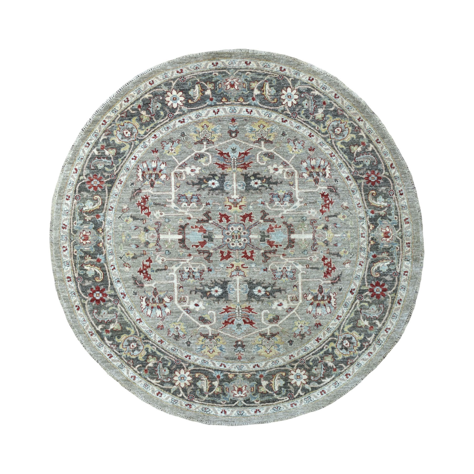 "5'8""x5'9"" Gray Peshawar With Heriz Design Vibrant Wool Round Hand Knotted Oriental Rug"
