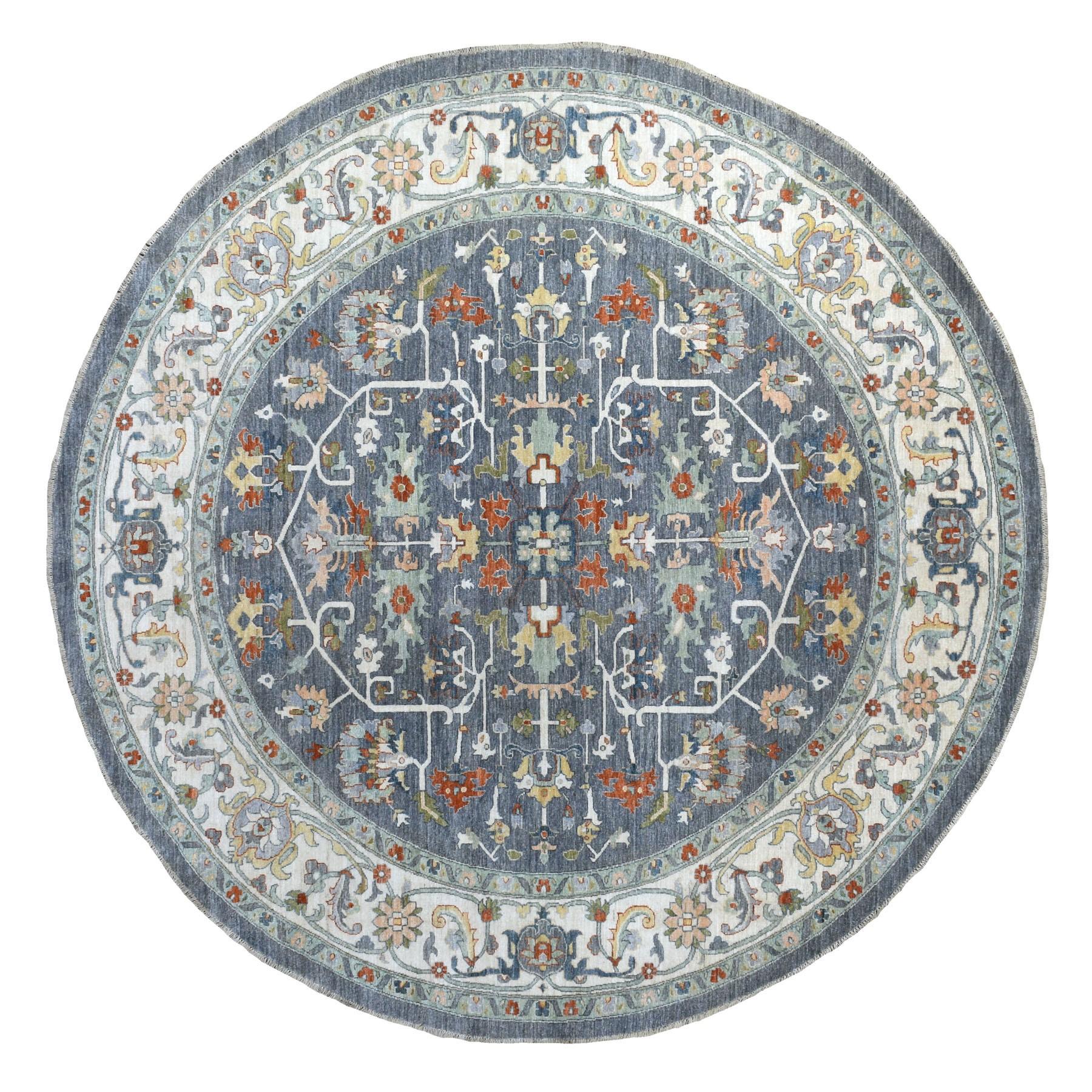 "9'7""x9'8"" Gray Peshawar With Heriz Design Handspun Wool Hand Knotted Oriental Round Rug"