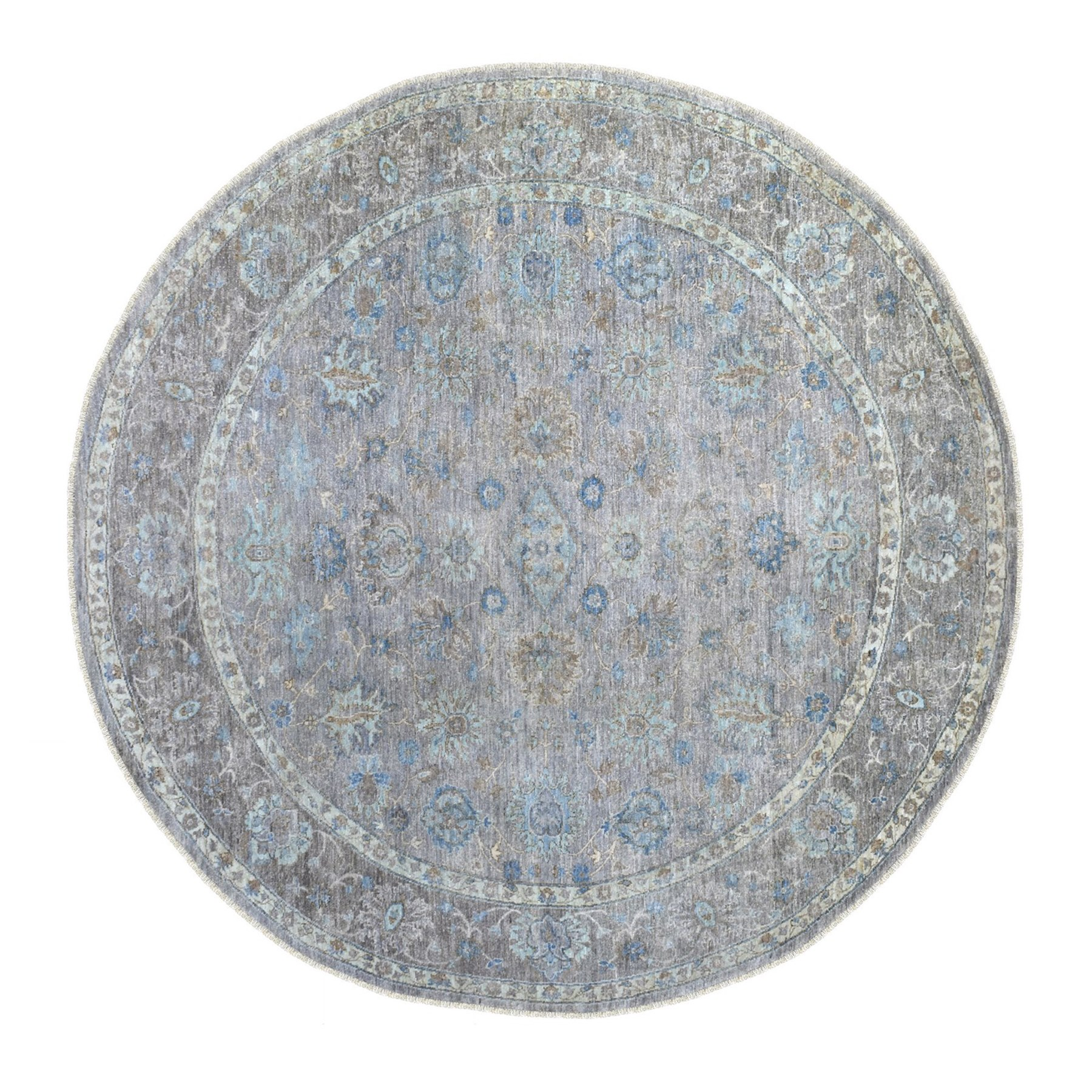 "8'5""x8'6"" Gray Afghan Peshawar with Ziegler Mahal Design Shiny Wool Hand Knotted Round Oriental Rug"