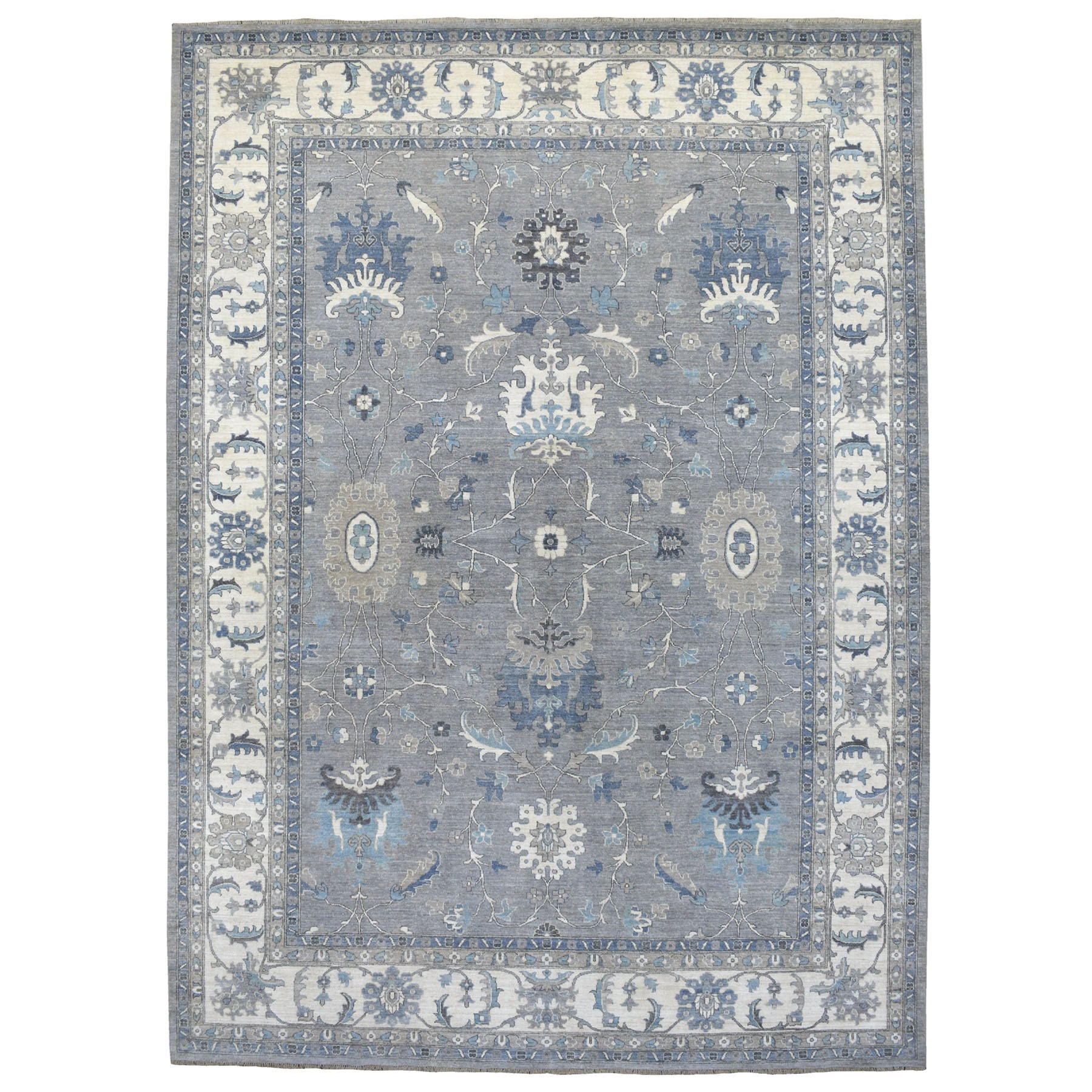 "10'1""x13'9"" Gray Afghan Peshawar with Ziegler Mahal Design Vibrant Wool Hand Knotted Oriental Rug"