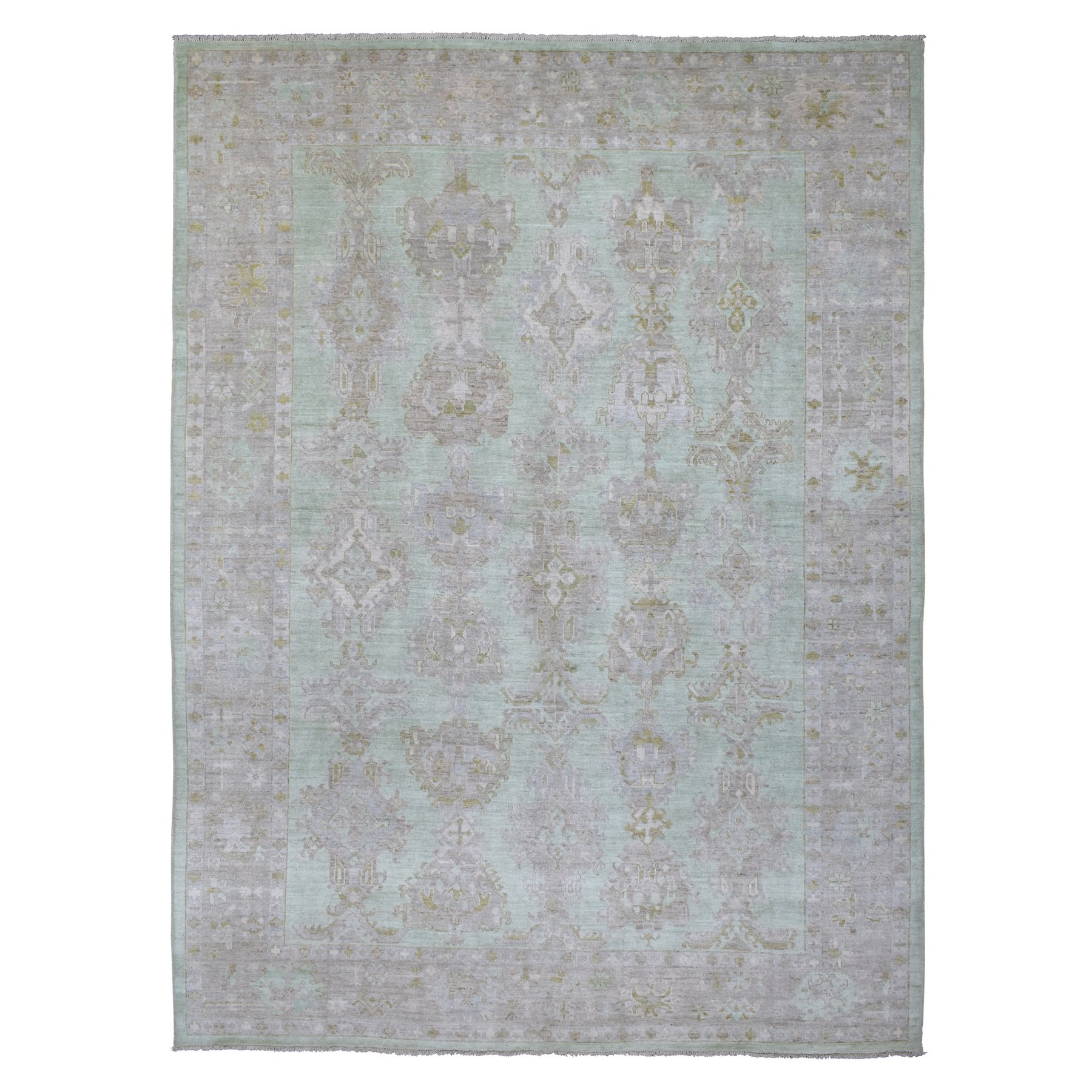 Agra And Turkish Collection Hand Knotted Green Rug No: 1134398
