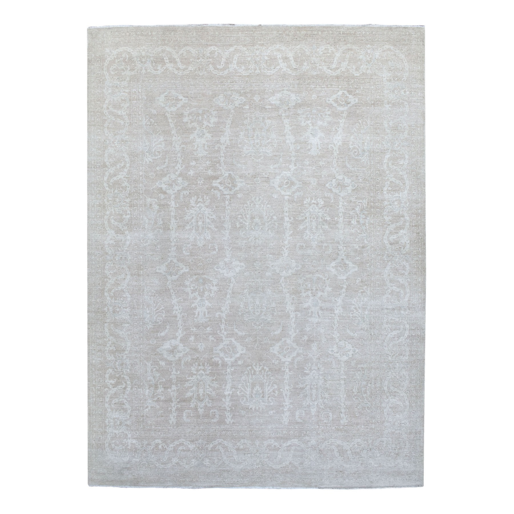 Agra And Turkish Collection Hand Knotted Ivory Rug No: 1135366