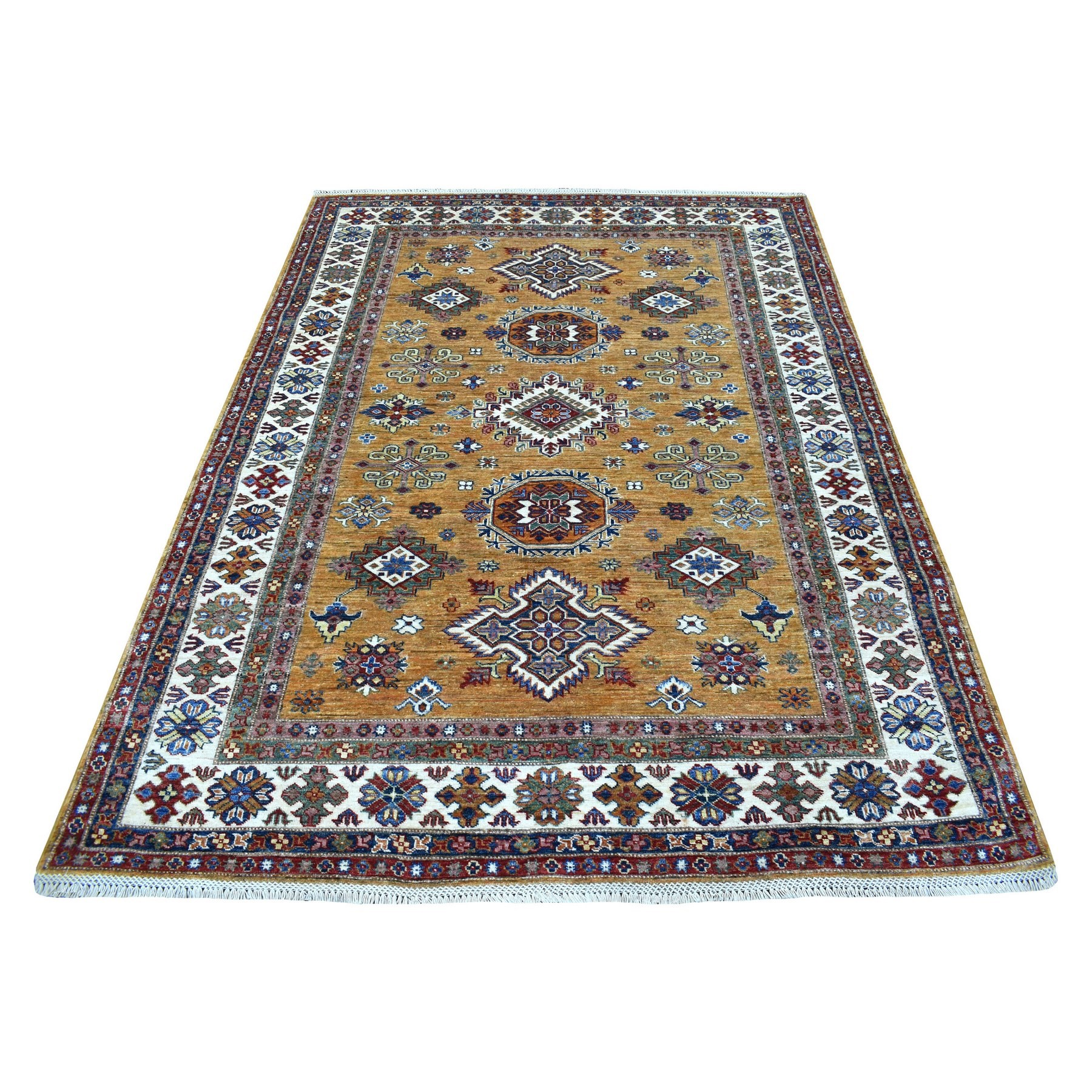 Caucasian Collection Hand Knotted Yellow Rug No: 1135472
