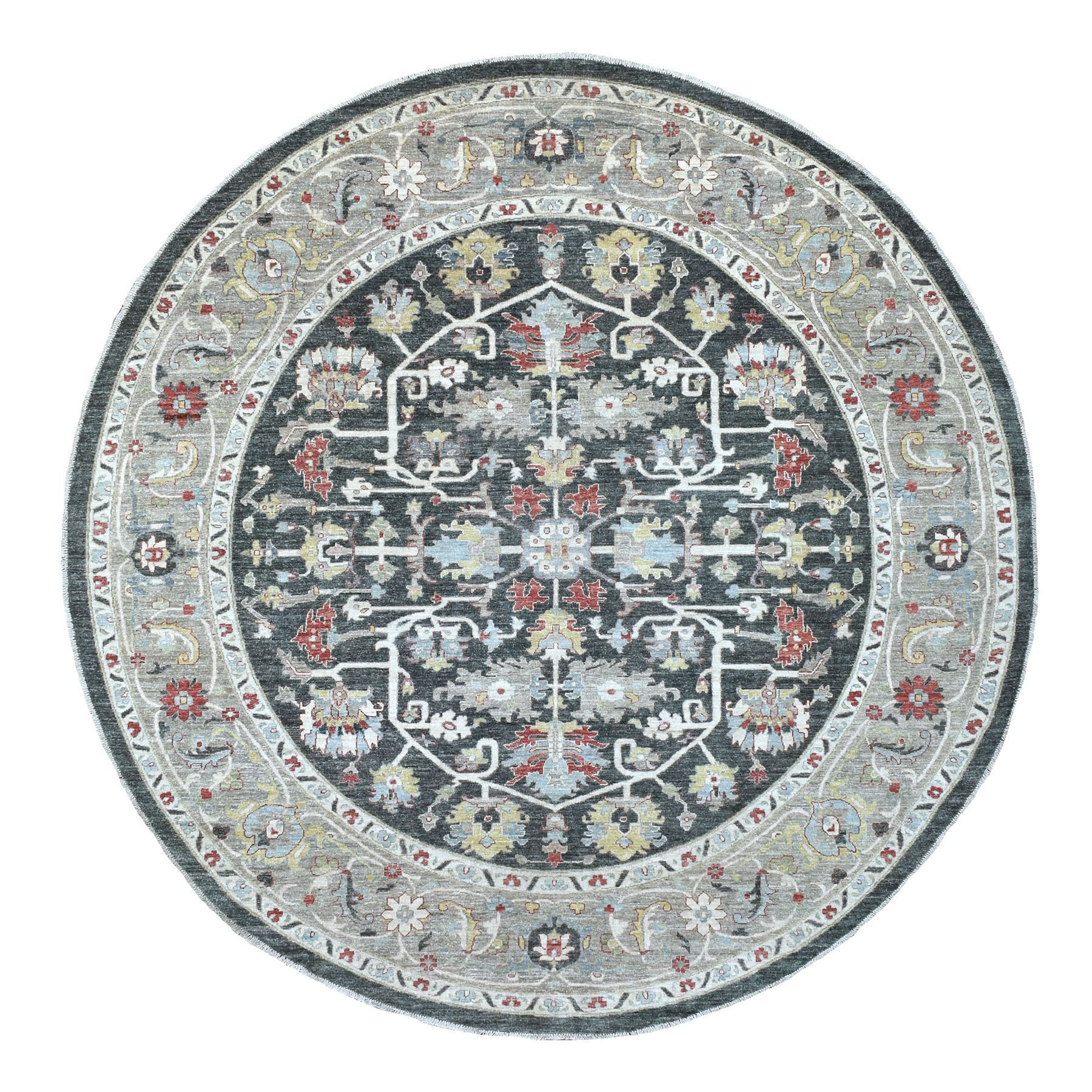 Agra And Turkish Collection Hand Knotted Black Rug No: 1135582
