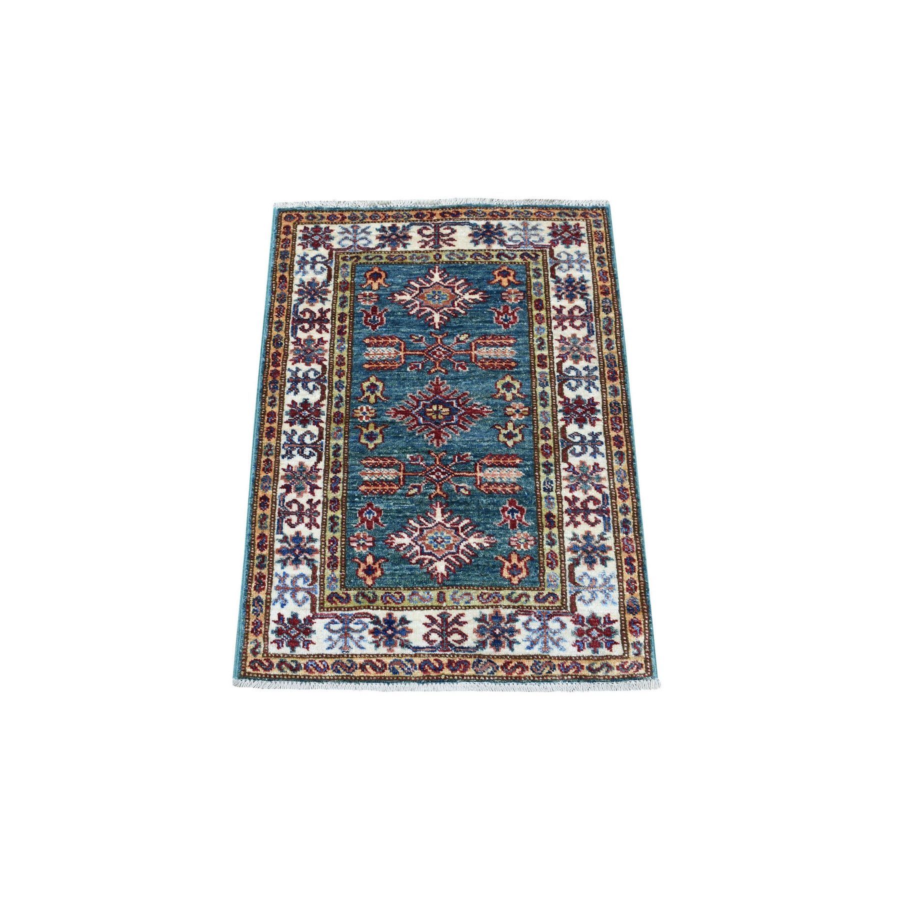 Caucasian Collection Hand Knotted Green Rug No: 1136210