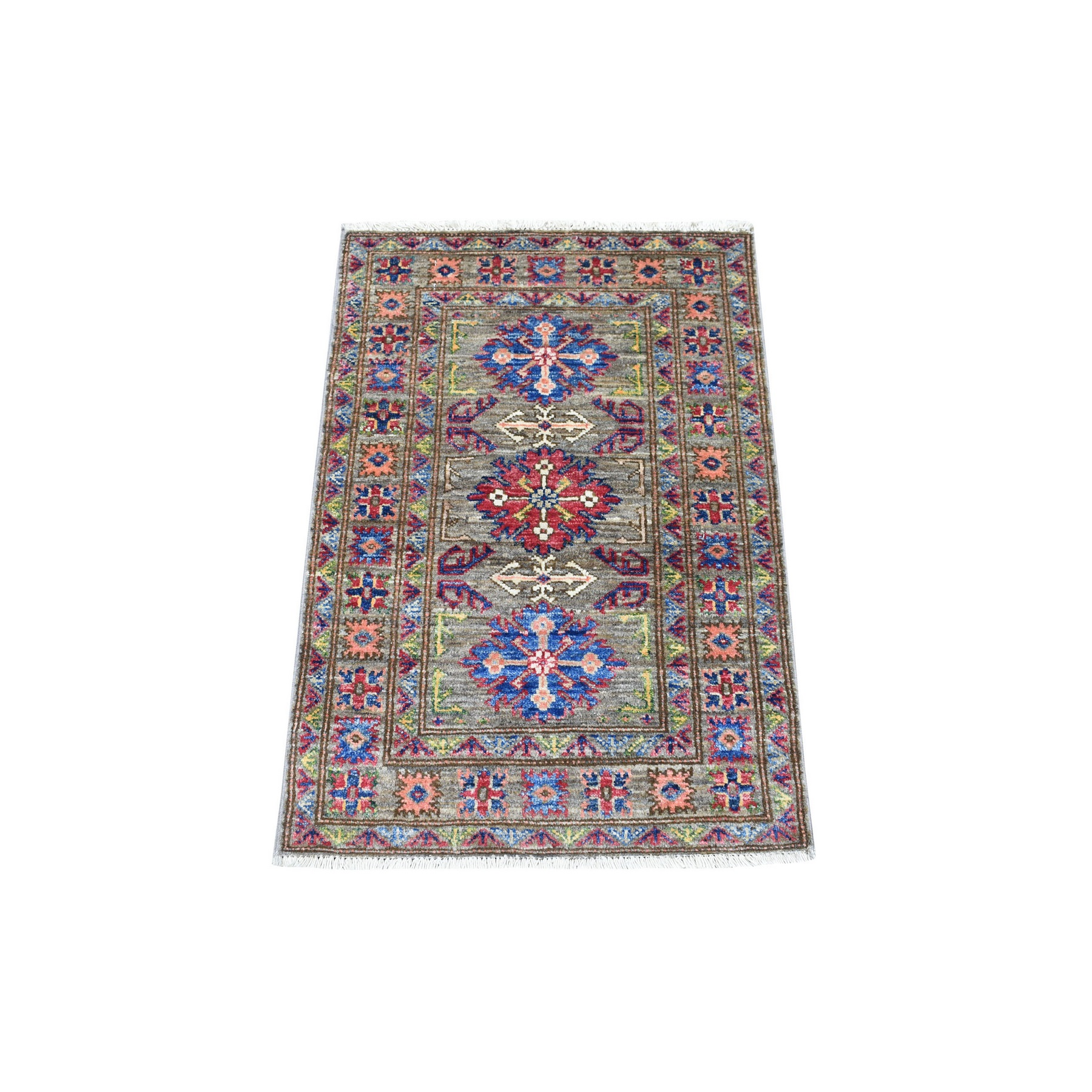 Caucasian Collection Hand Knotted Green Rug No: 1136230