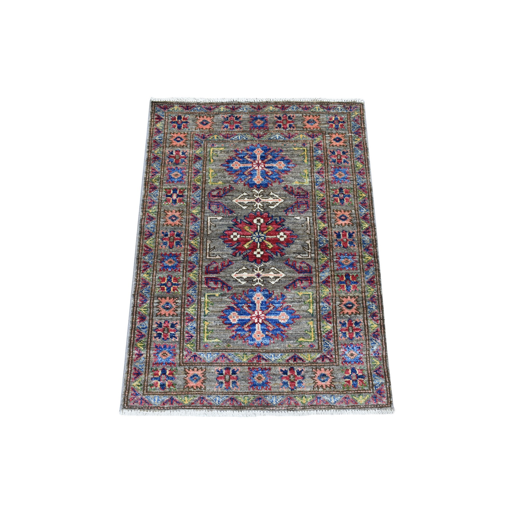 Caucasian Collection Hand Knotted Green Rug No: 1136242