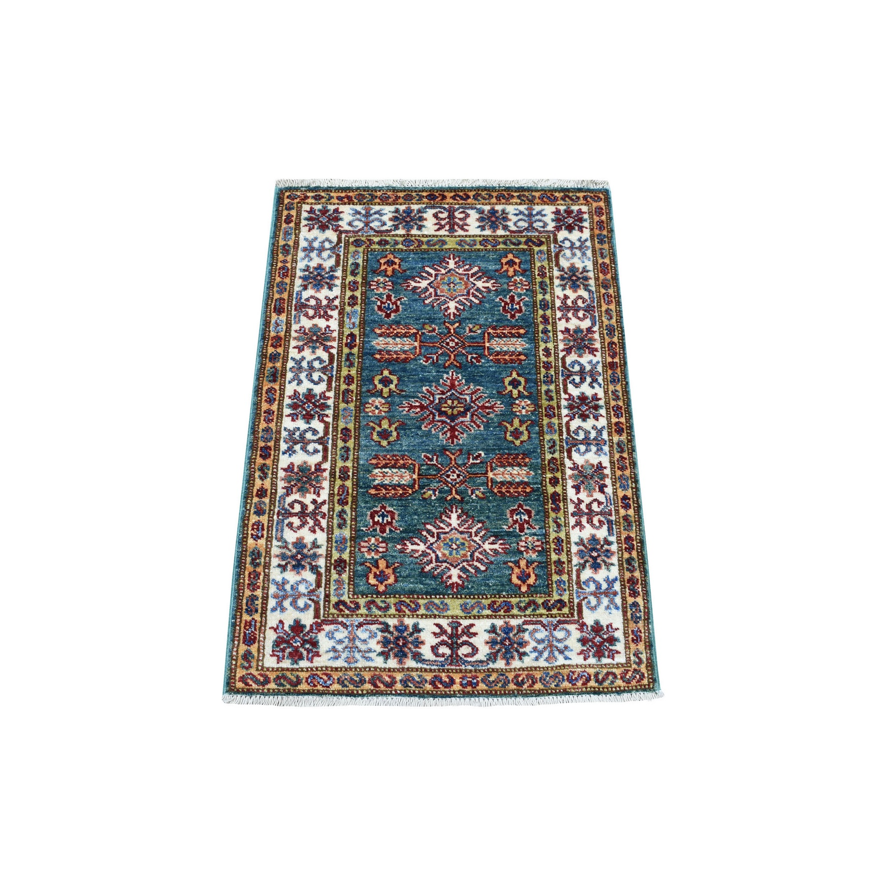 Caucasian Collection Hand Knotted Green Rug No: 1136264