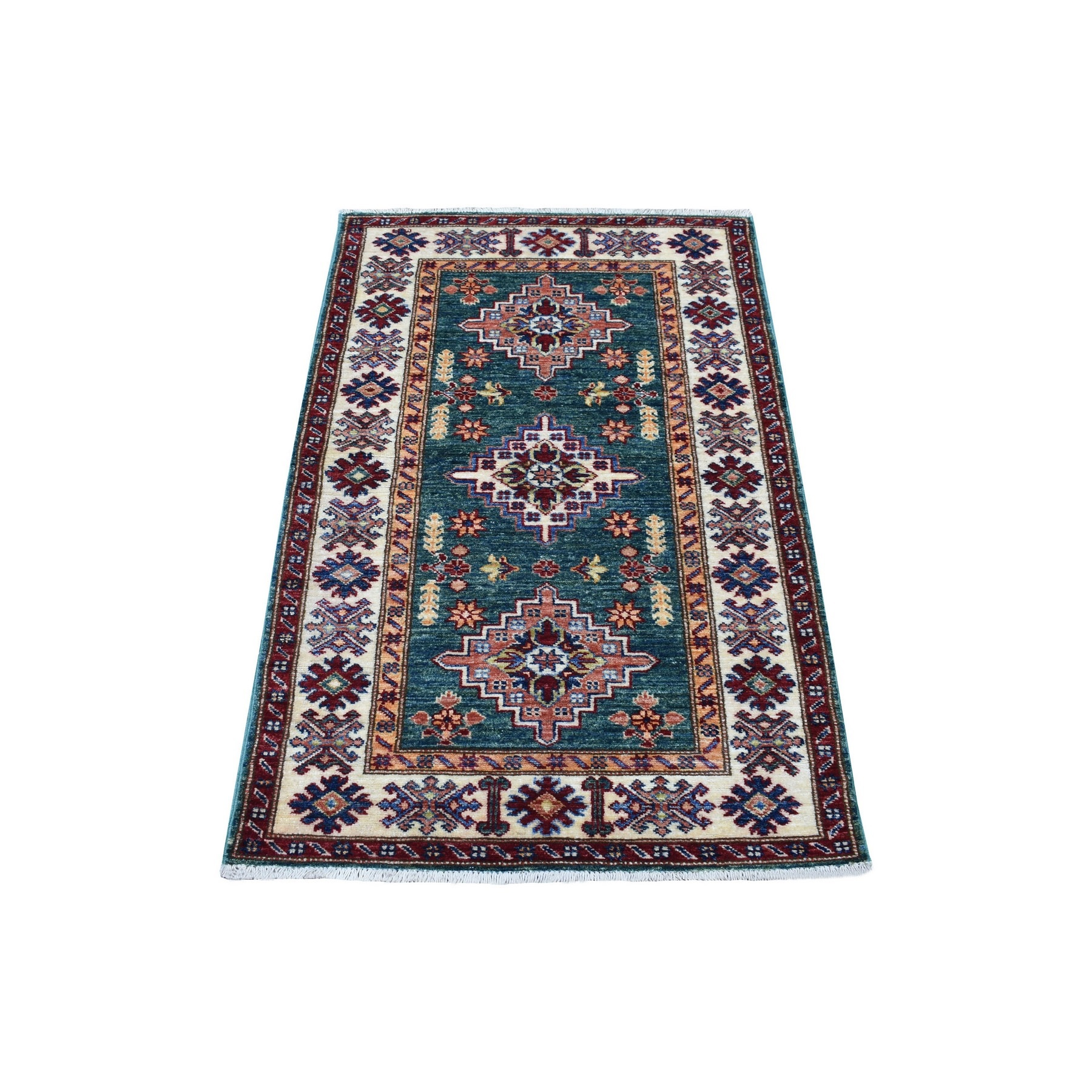 Caucasian Collection Hand Knotted Green Rug No: 1136330
