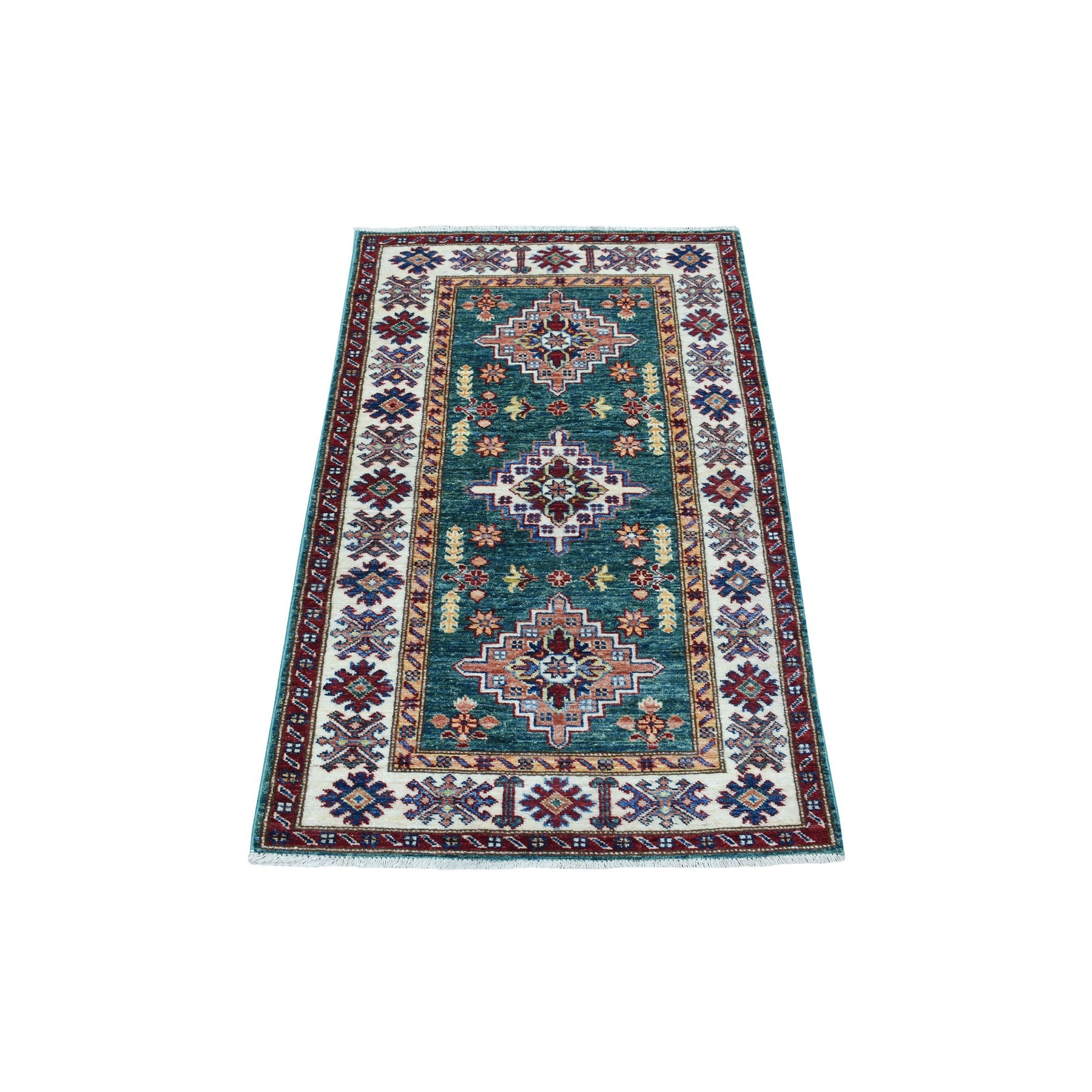 Caucasian Collection Hand Knotted Green Rug No: 1136358