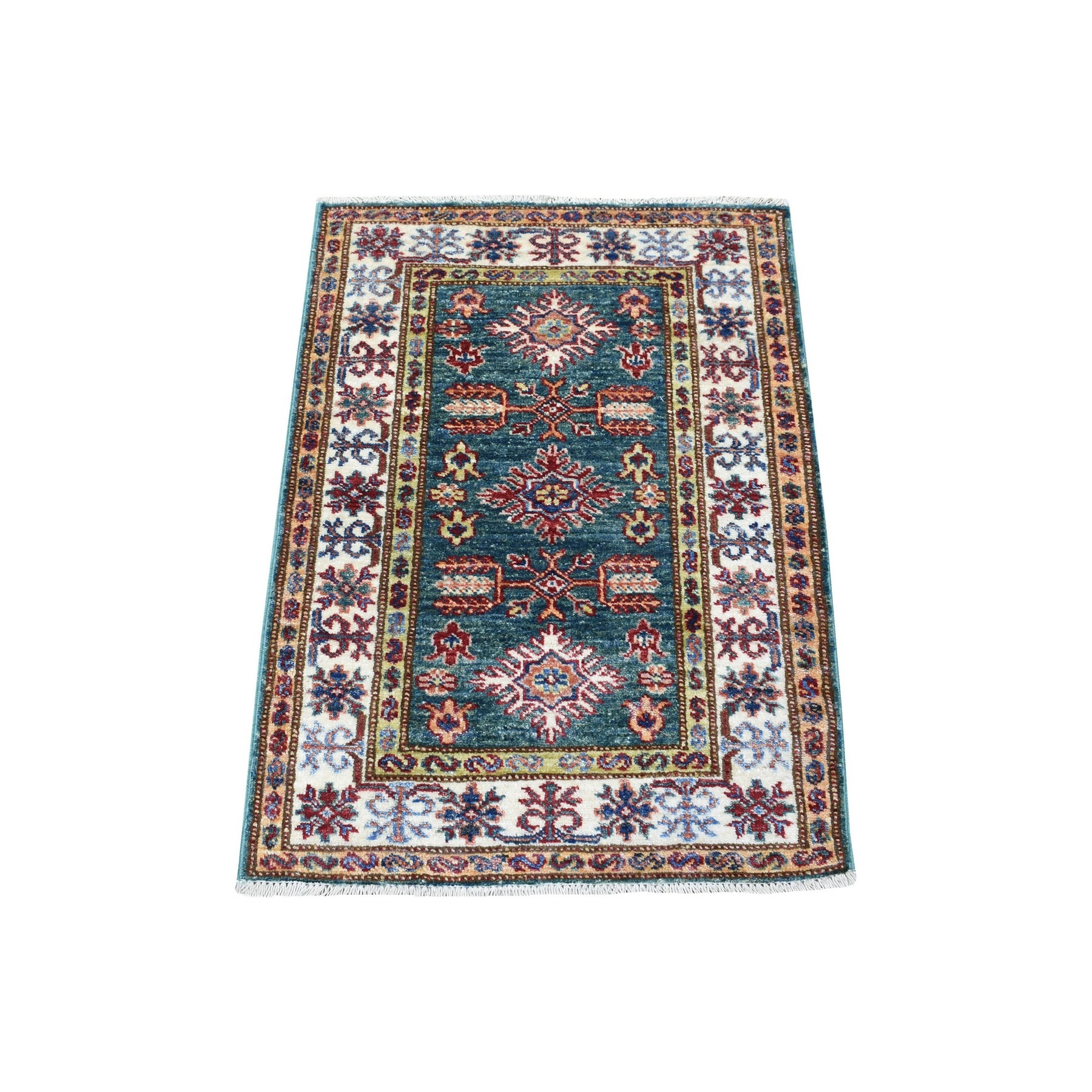 Caucasian Collection Hand Knotted Green Rug No: 1136400