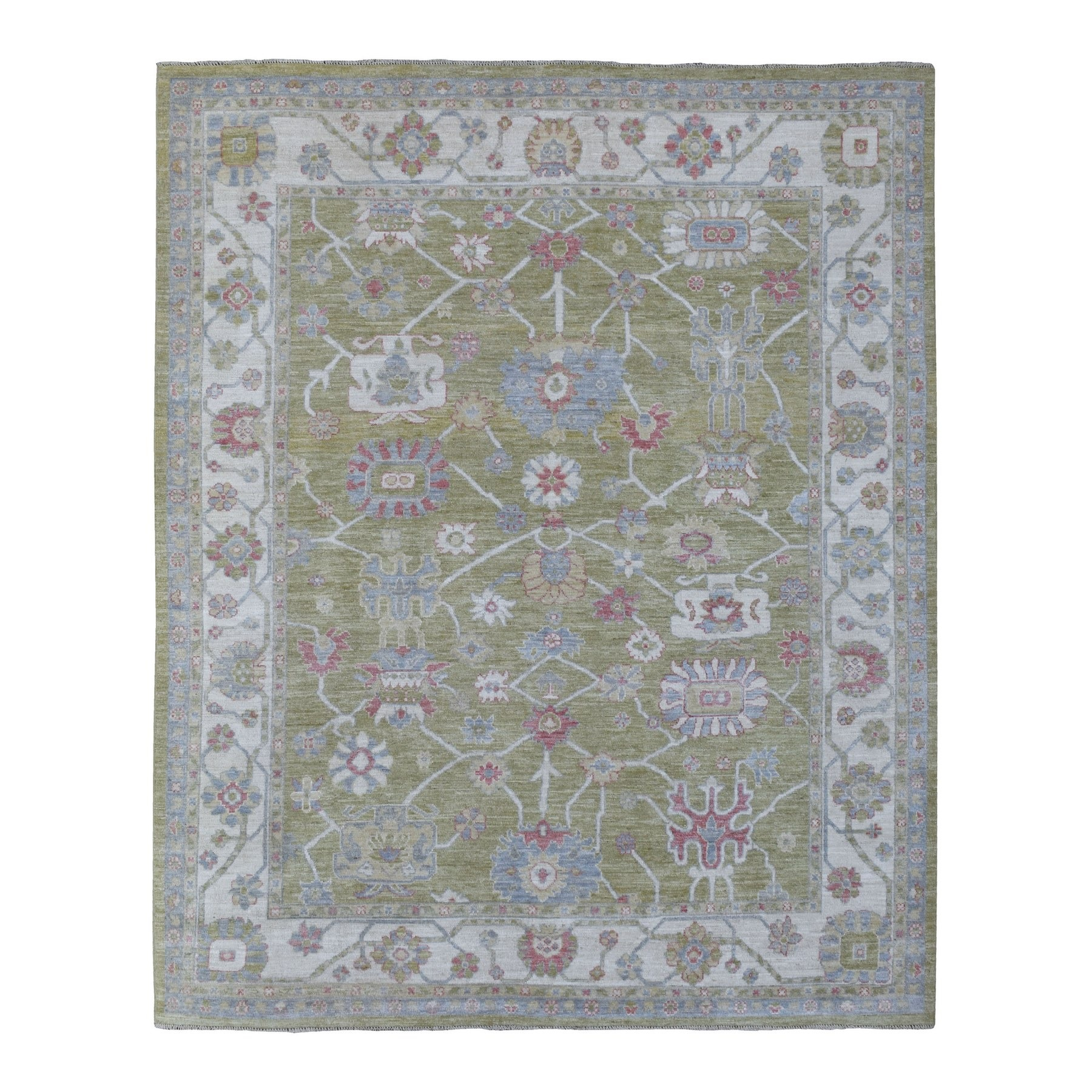 Agra And Turkish Collection Hand Knotted Green Rug No: 1136426