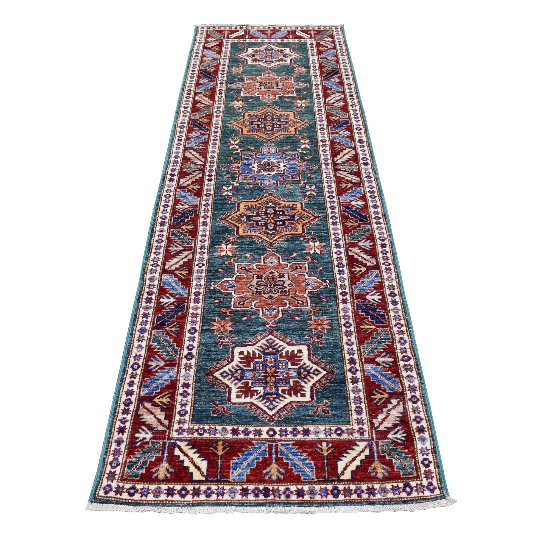 Caucasian Collection Hand Knotted Green Rug No: 1136552